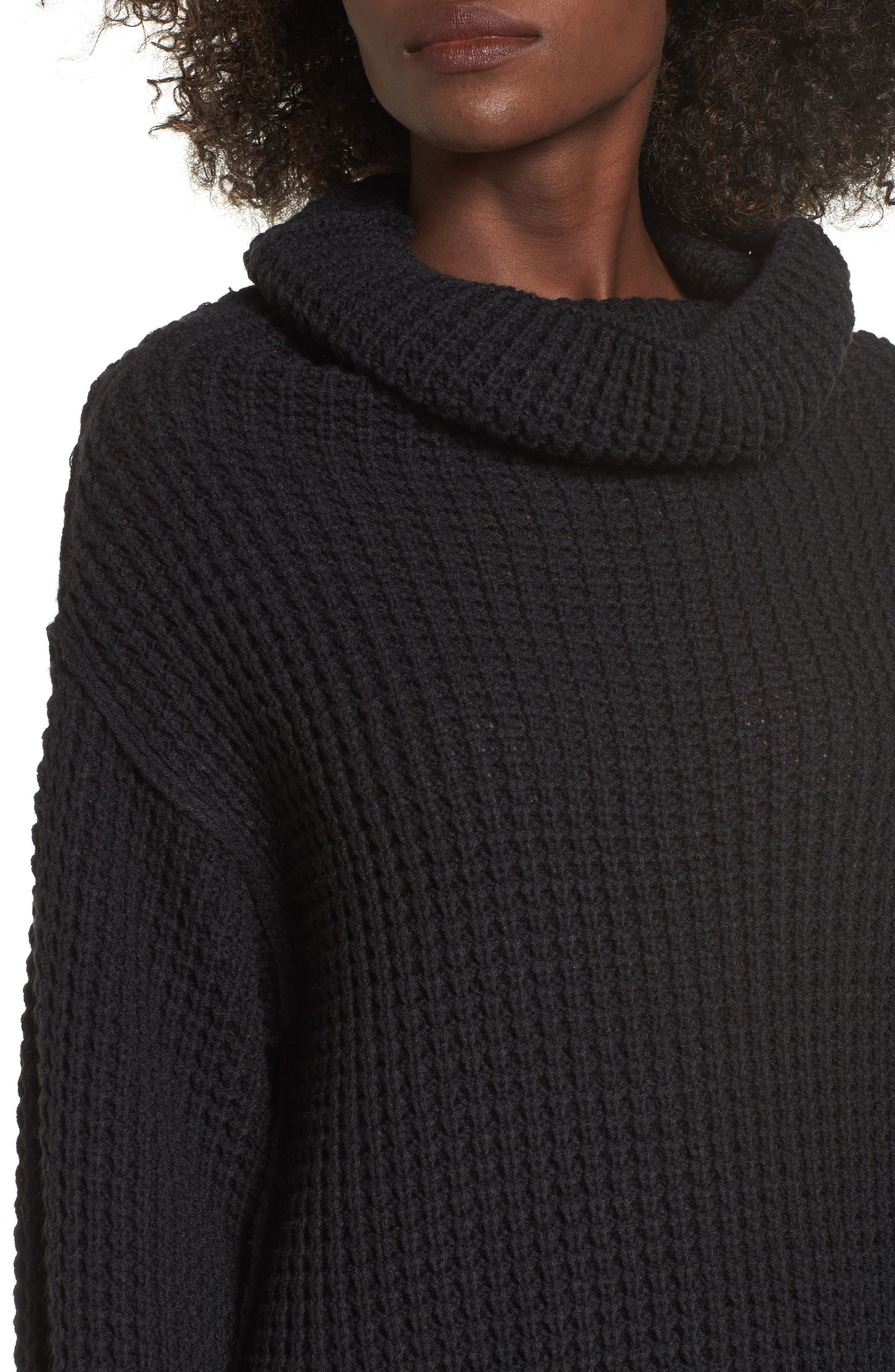 Cowl Neck Thermal Stitch Sweater,                             Alternate thumbnail 4, color,                             001