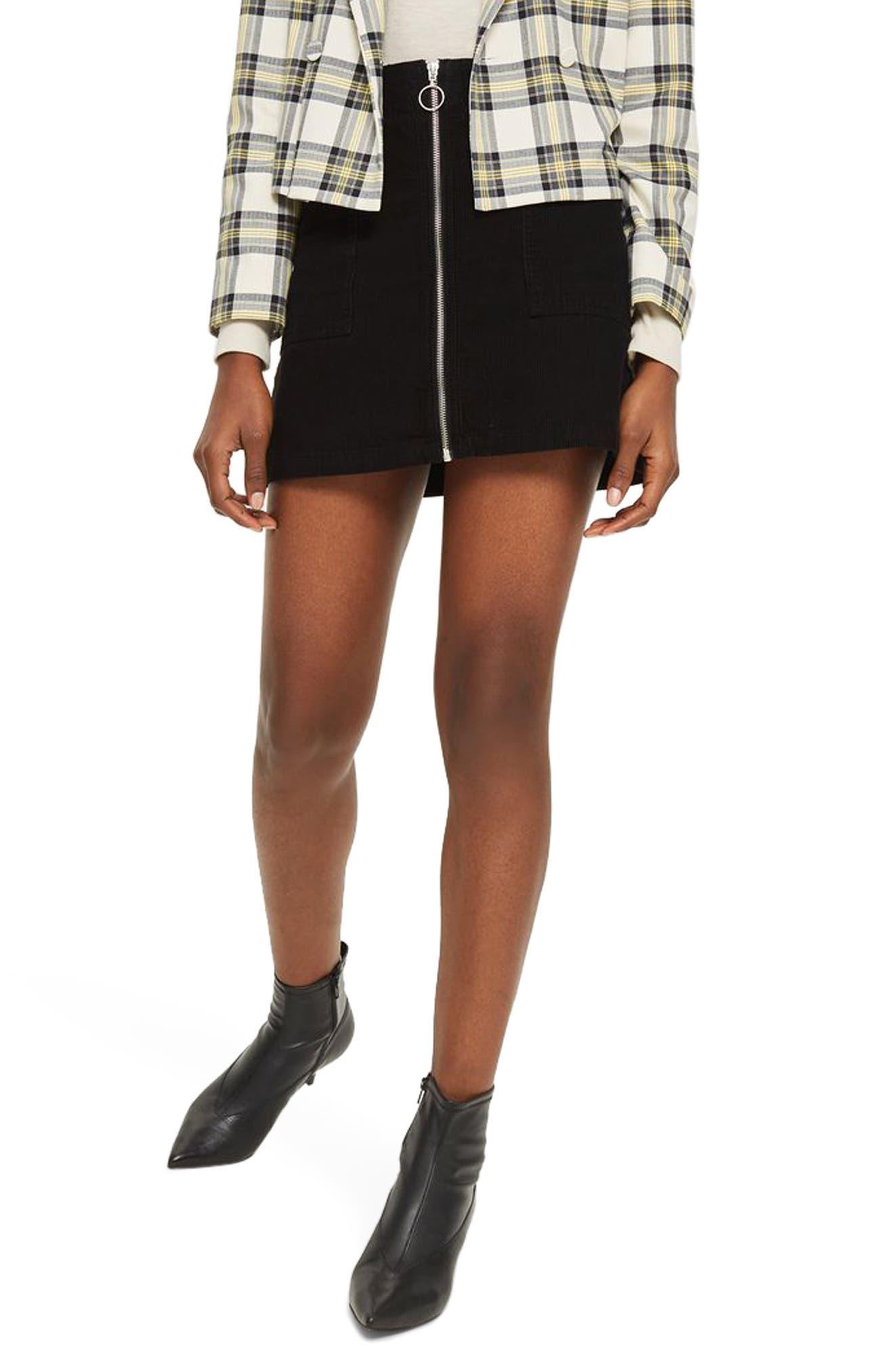 Zip Through Corduroy Skirt,                             Alternate thumbnail 3, color,                             001