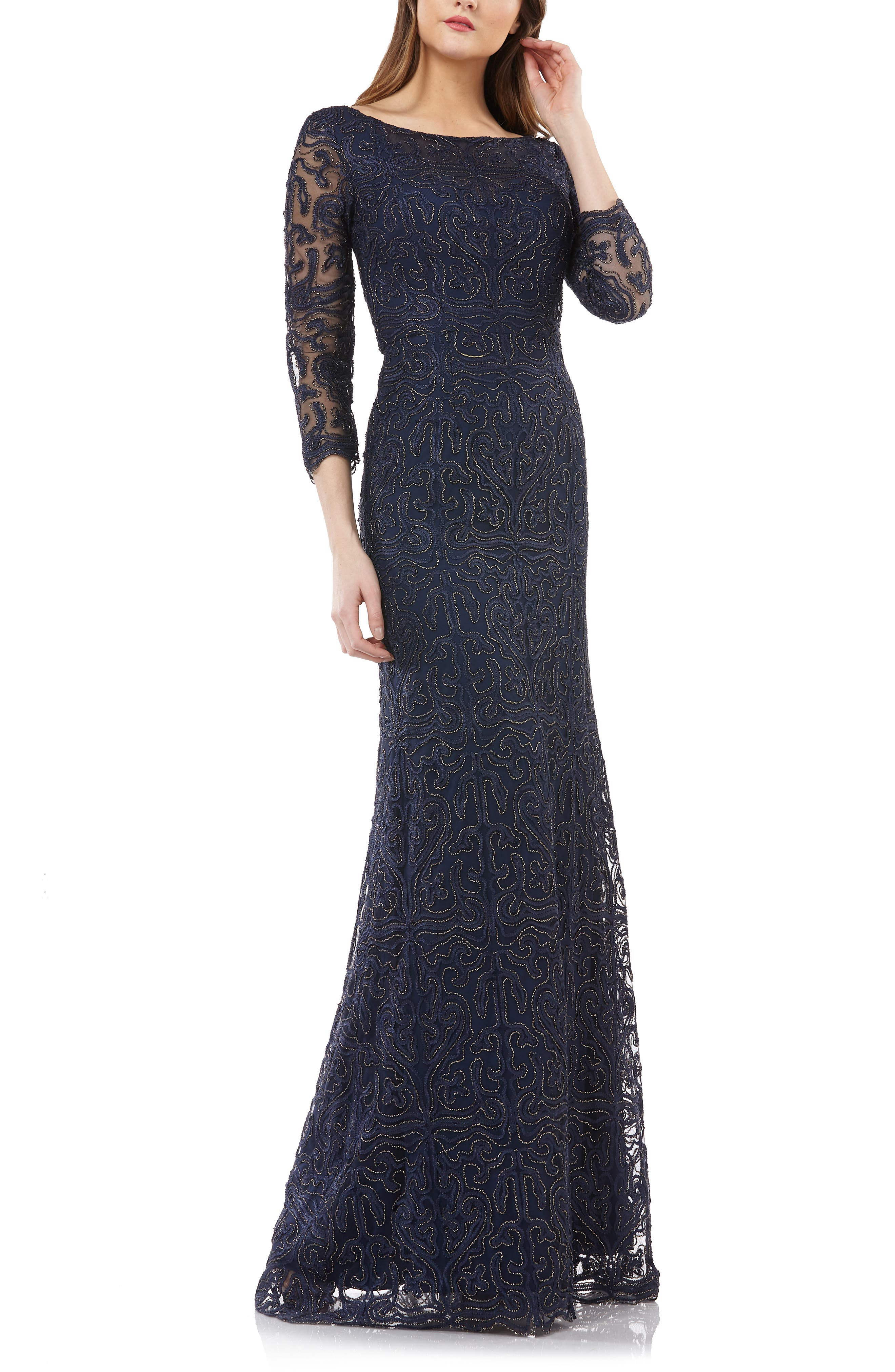 Metallic Soutache Evening Dress,                             Main thumbnail 1, color,                             NAVY/ GOLD