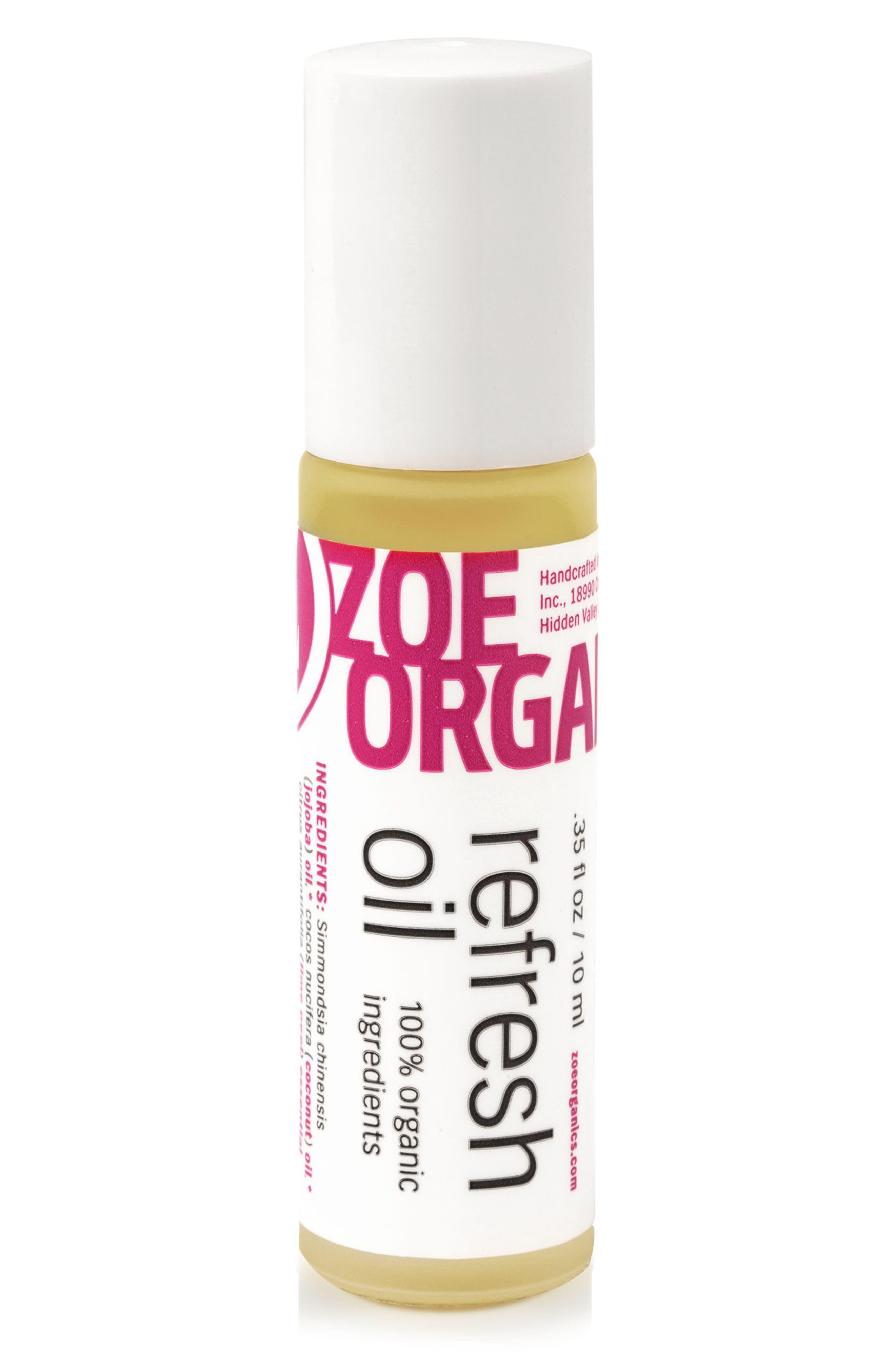 ZOE ORGANICS,                             Refresh Oil,                             Main thumbnail 1, color,                             WHITE