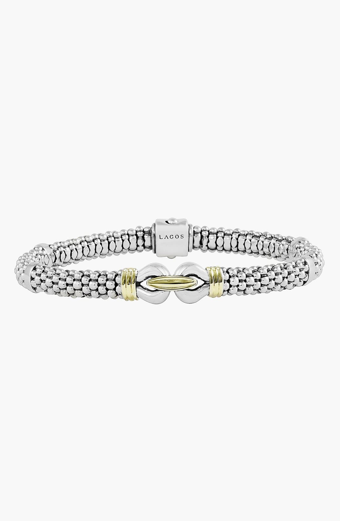 'Derby' Fluted Two Tone Rope Bracelet,                             Main thumbnail 1, color,                             SILVER/ GOLD