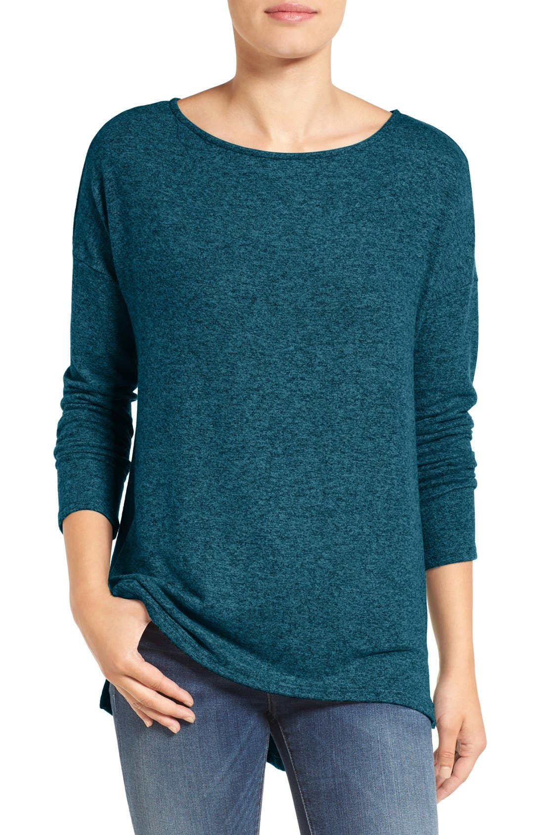 Cozy Ballet Neck High/Low Pullover,                             Main thumbnail 11, color,