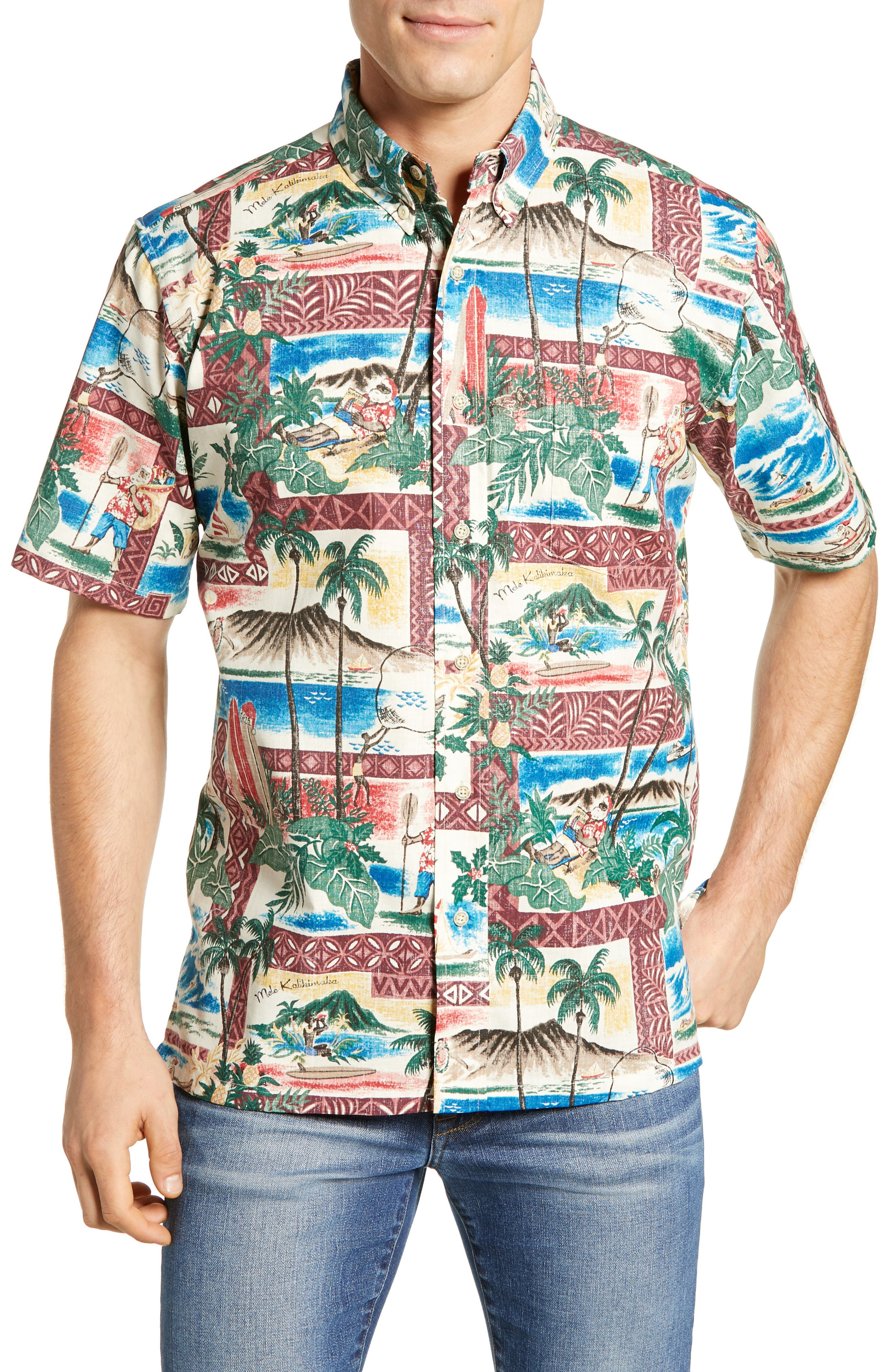 Reyn Spooner Hawaiian Christmas 2018 Classic Fit Sport Shirt, Red