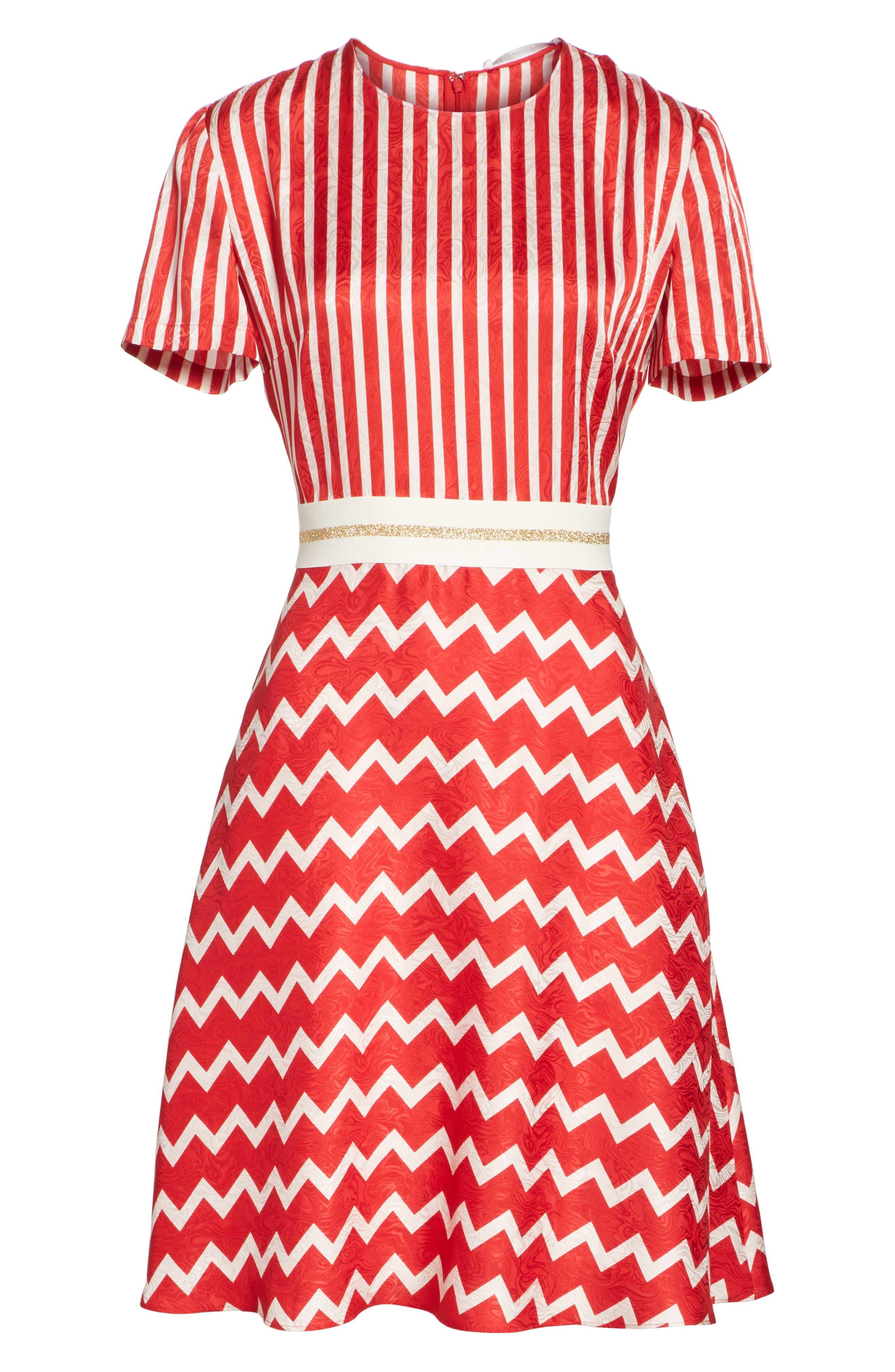 STELLA MCCARTNEY,                             Zigzag Stripe Silk Dress,                             Alternate thumbnail 6, color,                             627