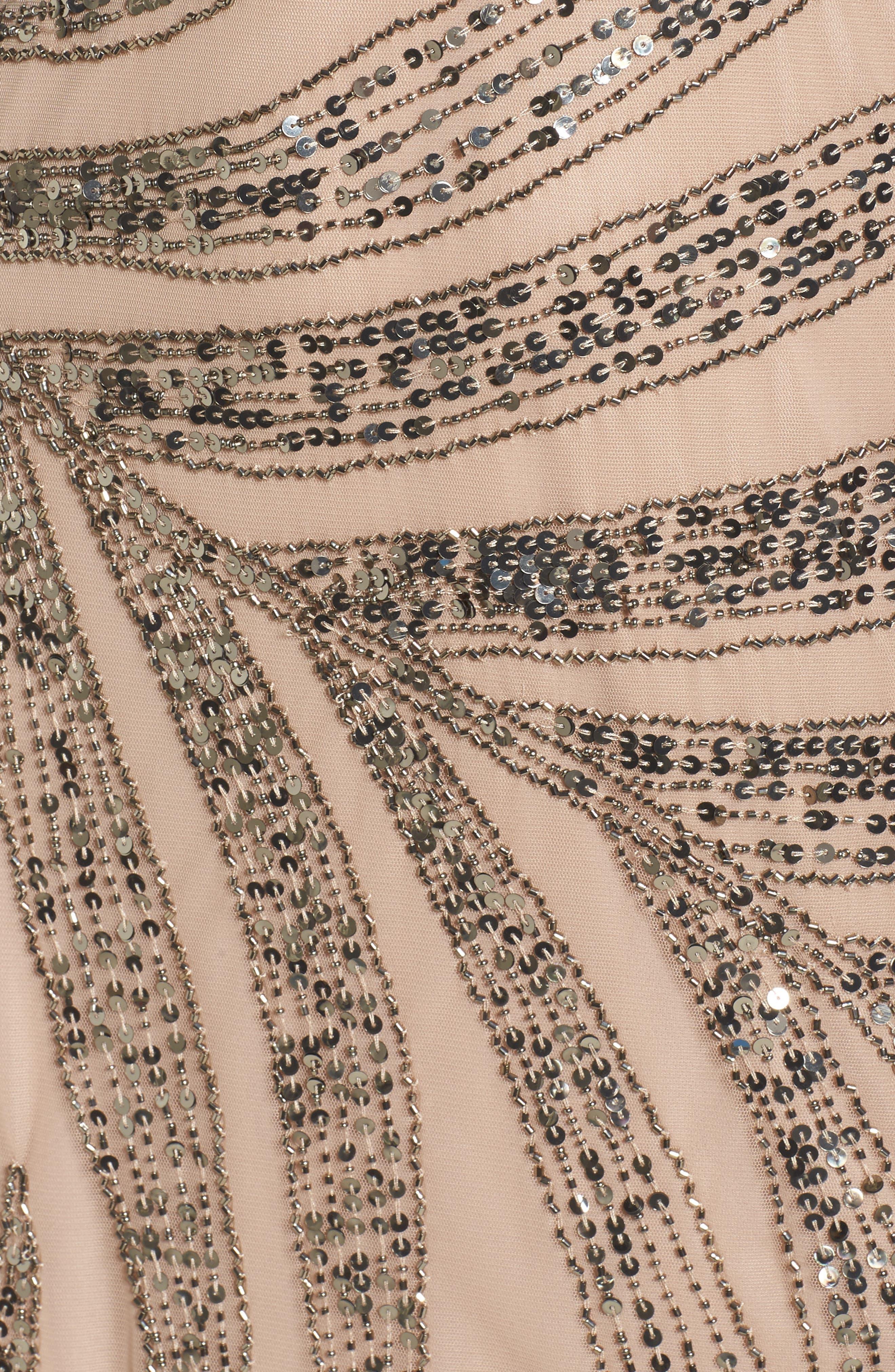 Beaded One-Shoulder Blouson Mesh Gown,                             Alternate thumbnail 5, color,                             673