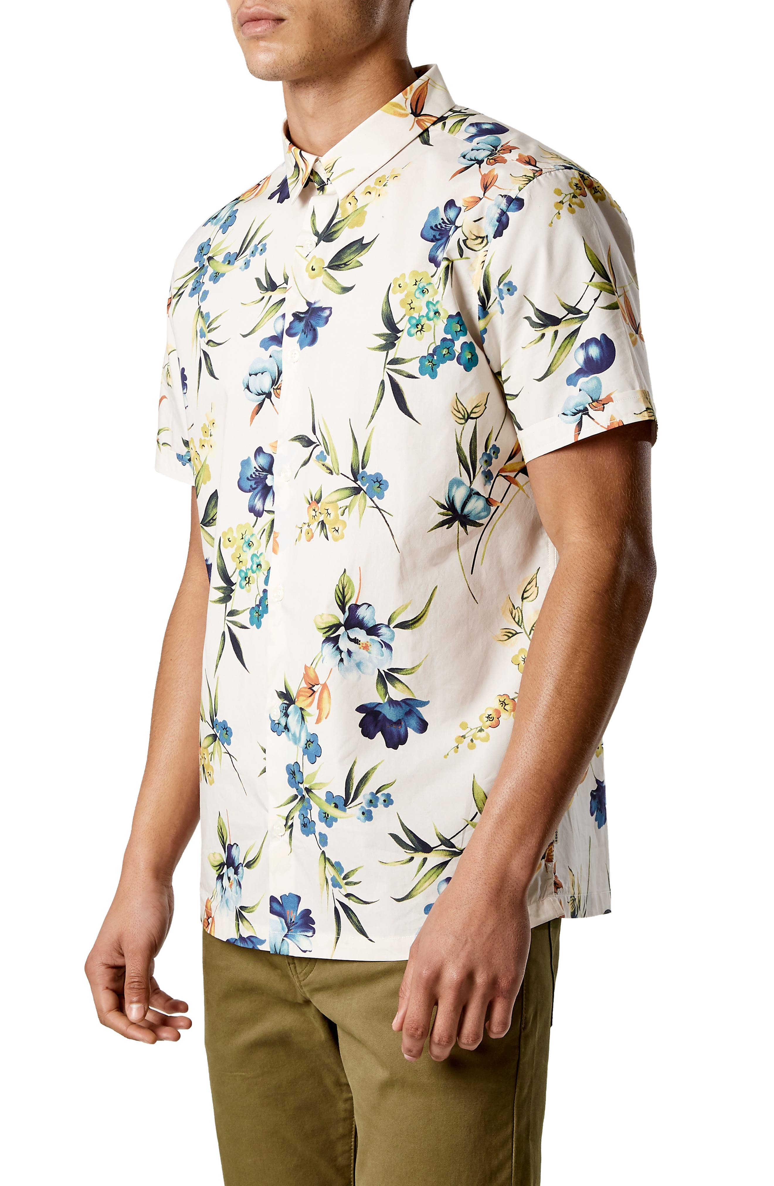 Sky Pilot Trim Fit Short Sleeve Sport Shirt,                             Alternate thumbnail 4, color,                             NATURAL