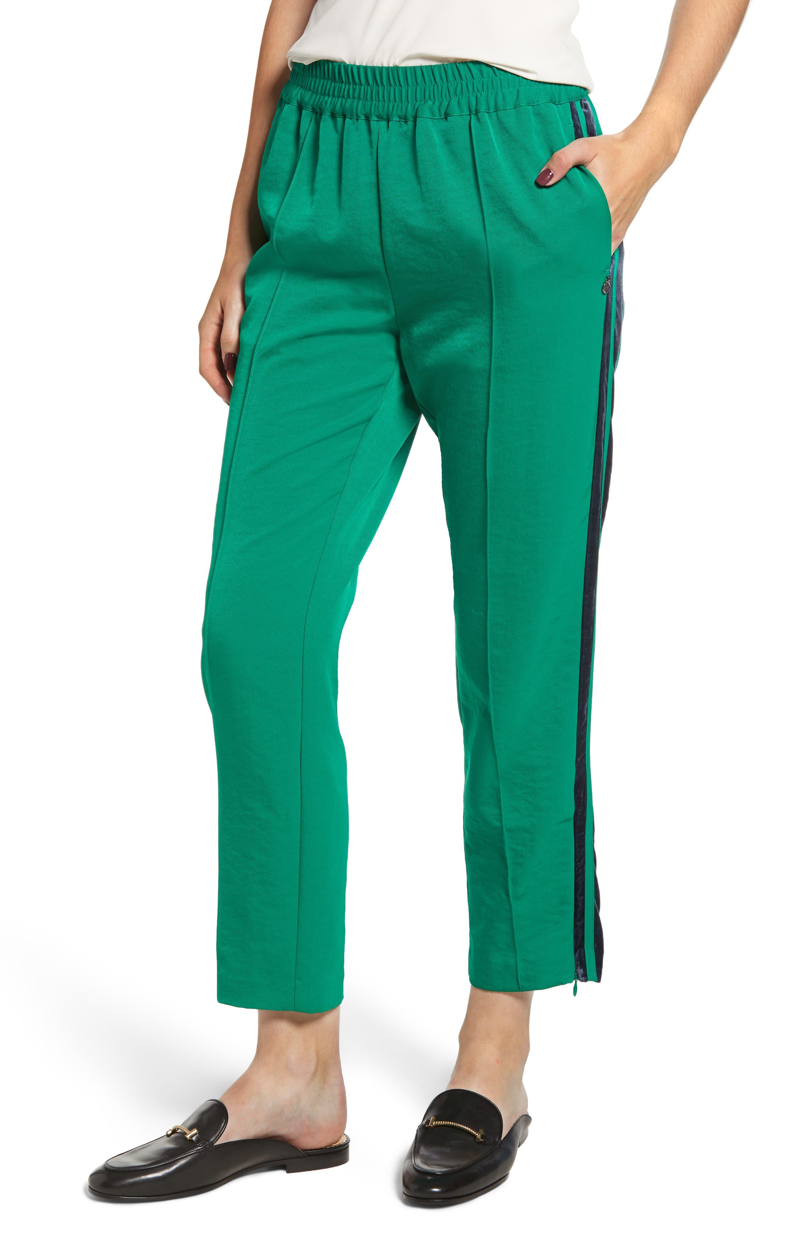 Velvet Stripe Satin Track Pants,                         Main,                         color, 310