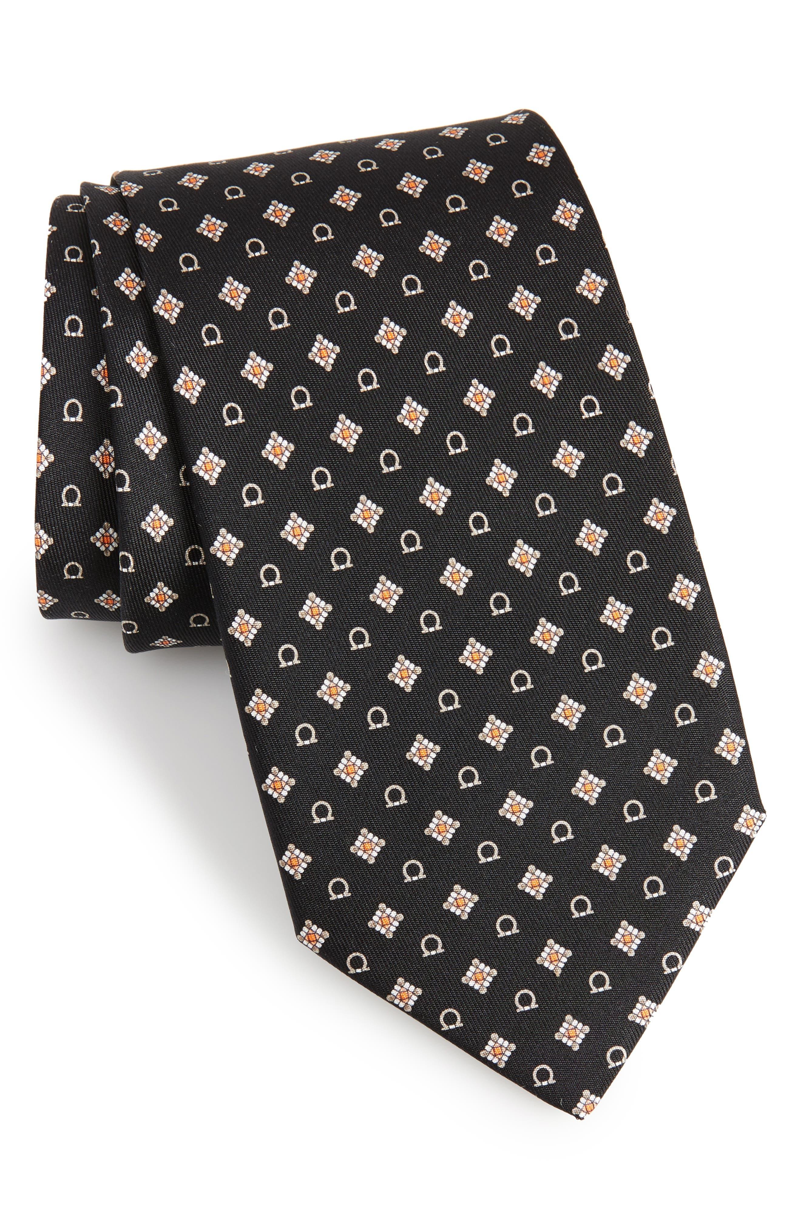 SALVATORE FERRAGAMO Edison Medallion Silk Tie, Main, color, 001