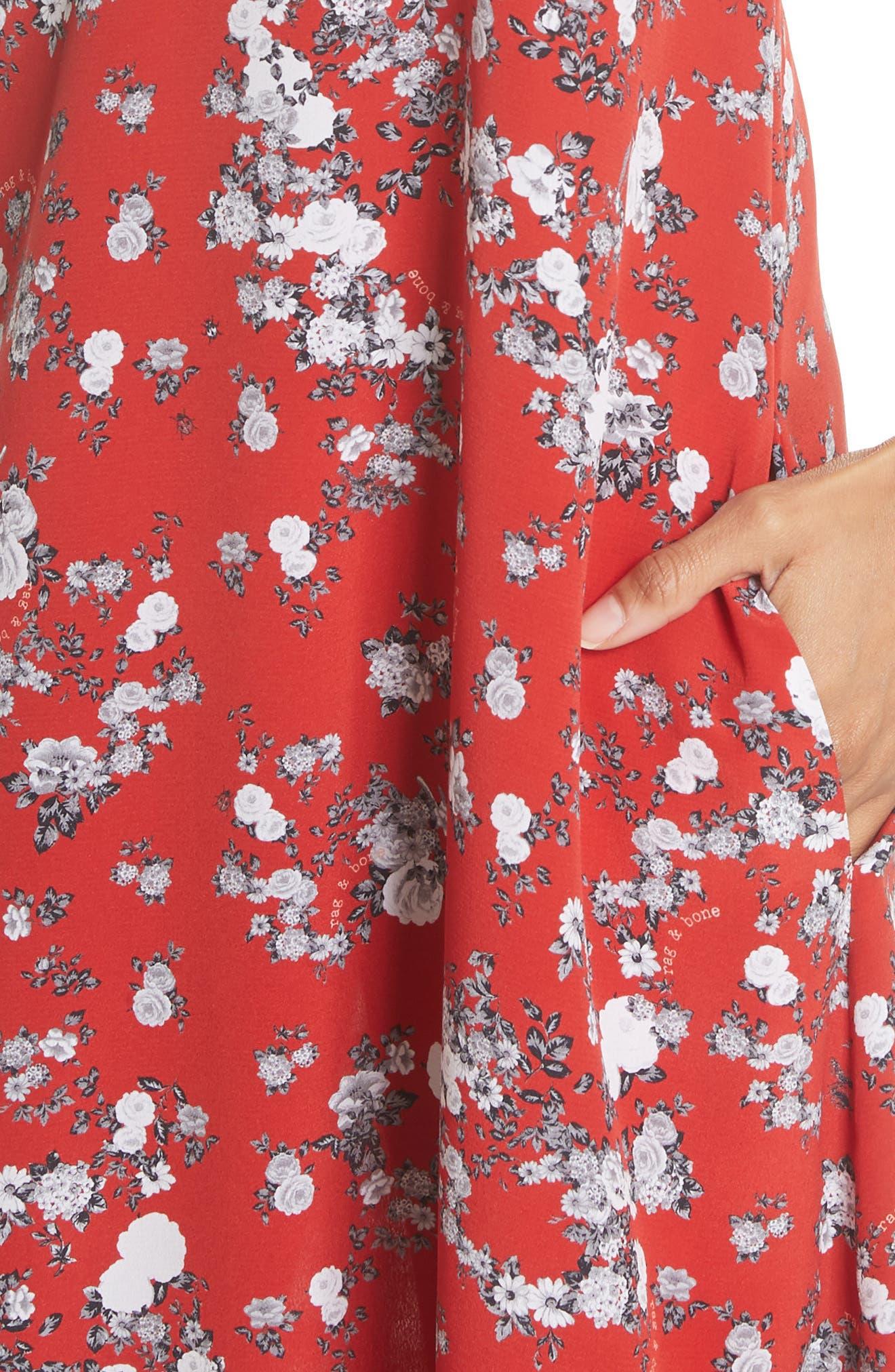 Zoe Floral Print Silk Dress,                             Alternate thumbnail 4, color,                             RED GARDEN FLORAL