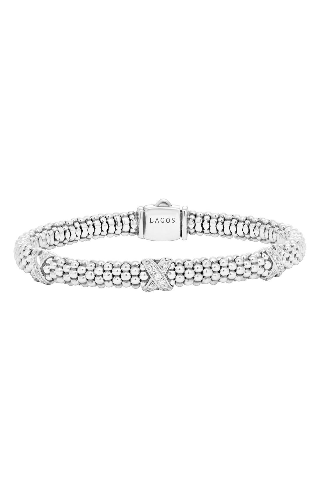 'Signature Caviar' Diamond Rope Bracelet,                             Main thumbnail 1, color,                             STERLING SILVER