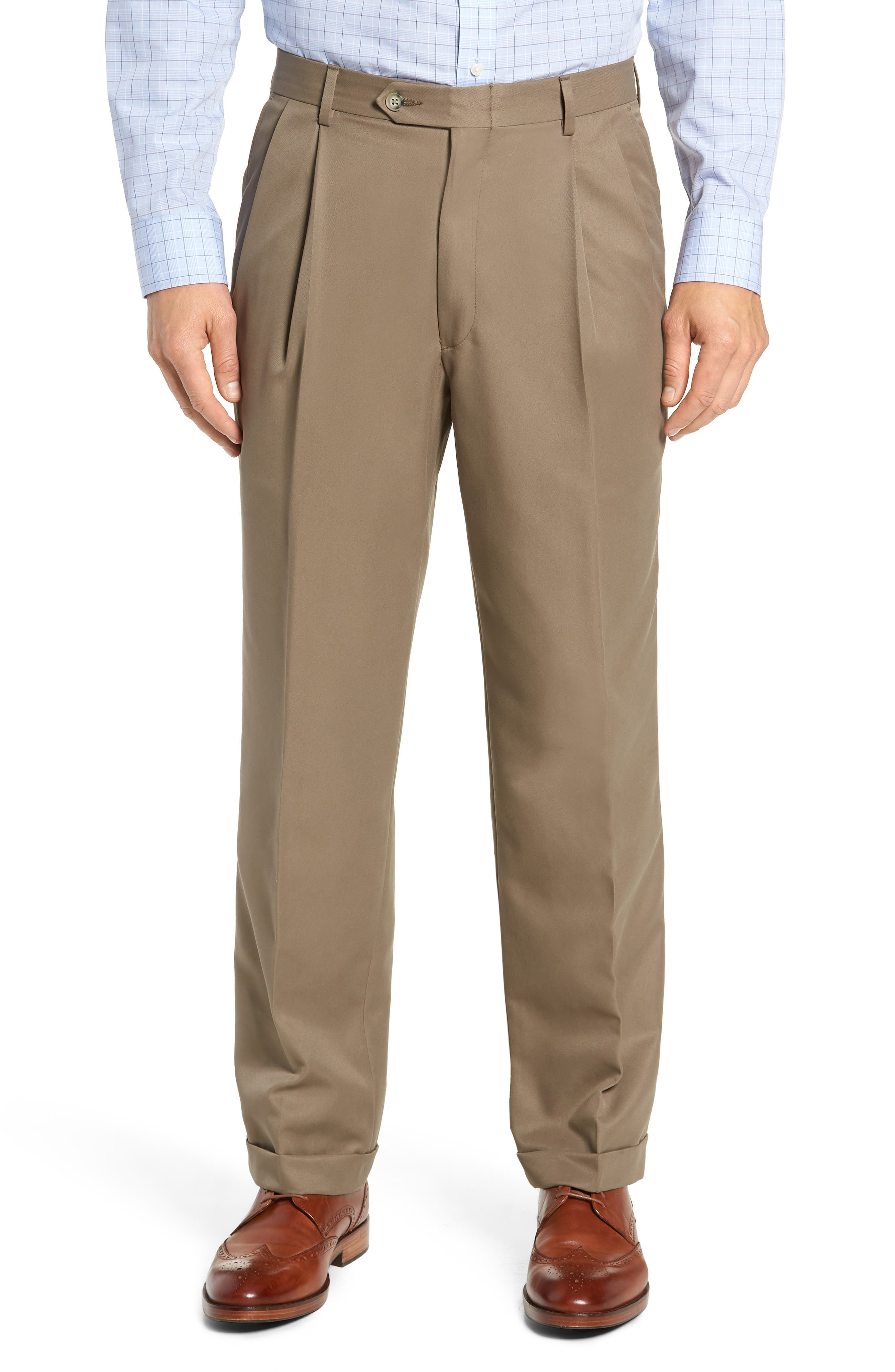 Classic Fit Pleated Microfiber Performance Trousers,                         Main,                         color, GREEN