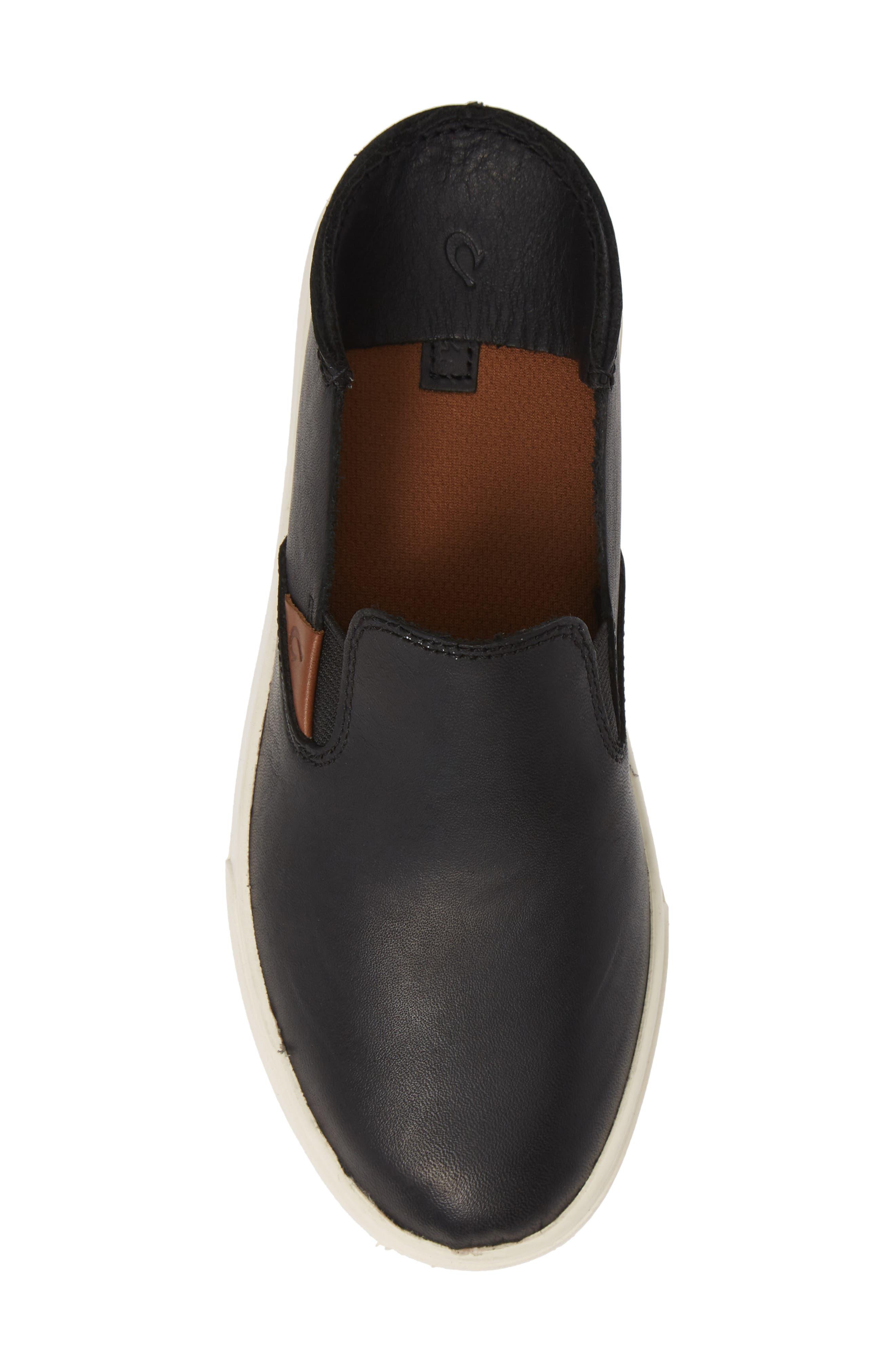 Pehuea Slip-On Sneaker,                             Alternate thumbnail 6, color,                             BLACK/ BLACK LEATHER