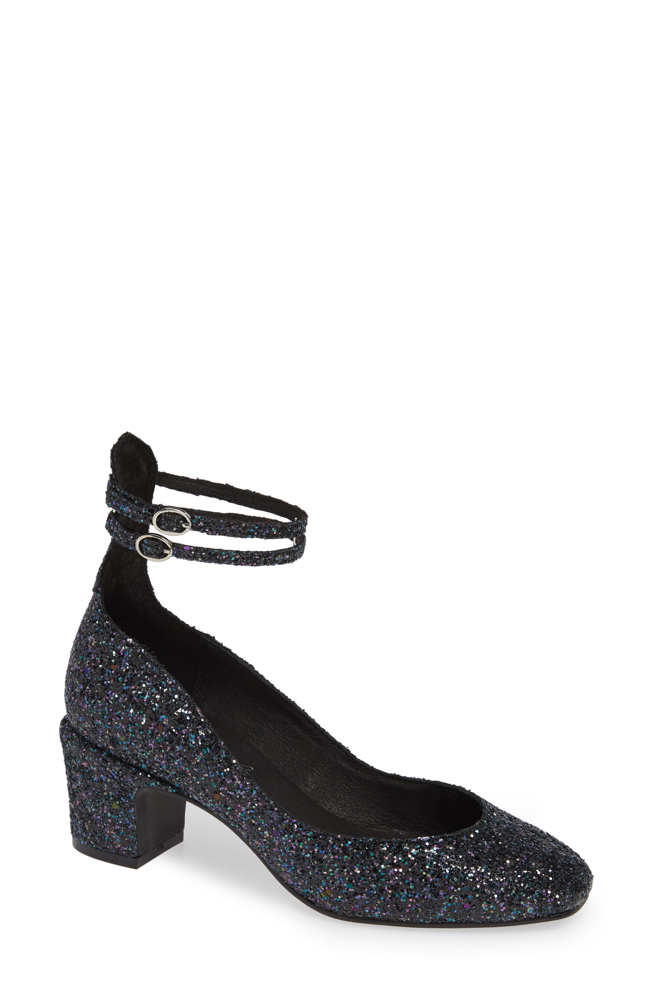 Lana Ankle Strap Pump,                             Main thumbnail 1, color,                             NAVY GLITTER PATENT LEATHER