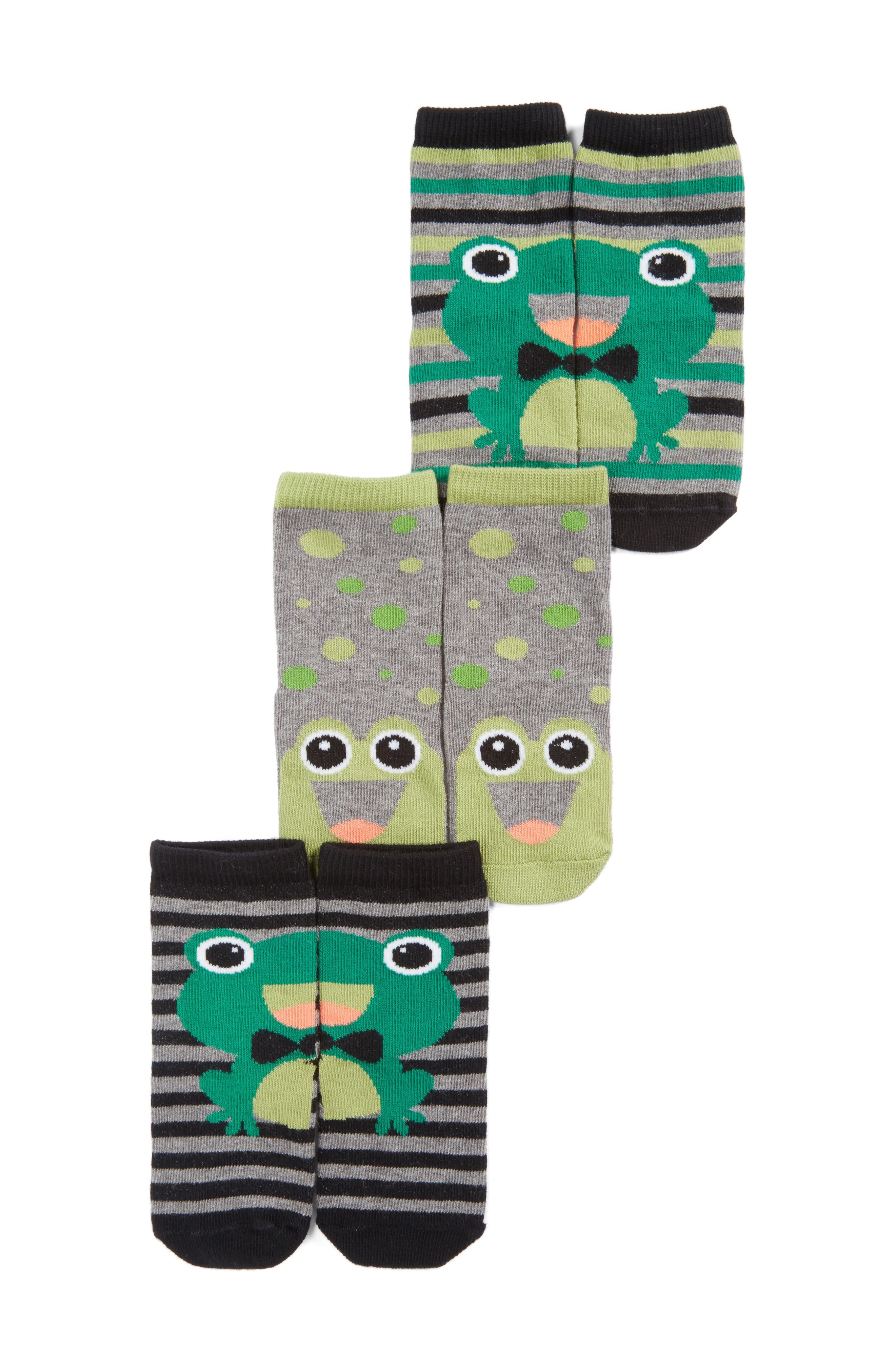 Assorted 3-Pack Frog Socks,                         Main,                         color, 300