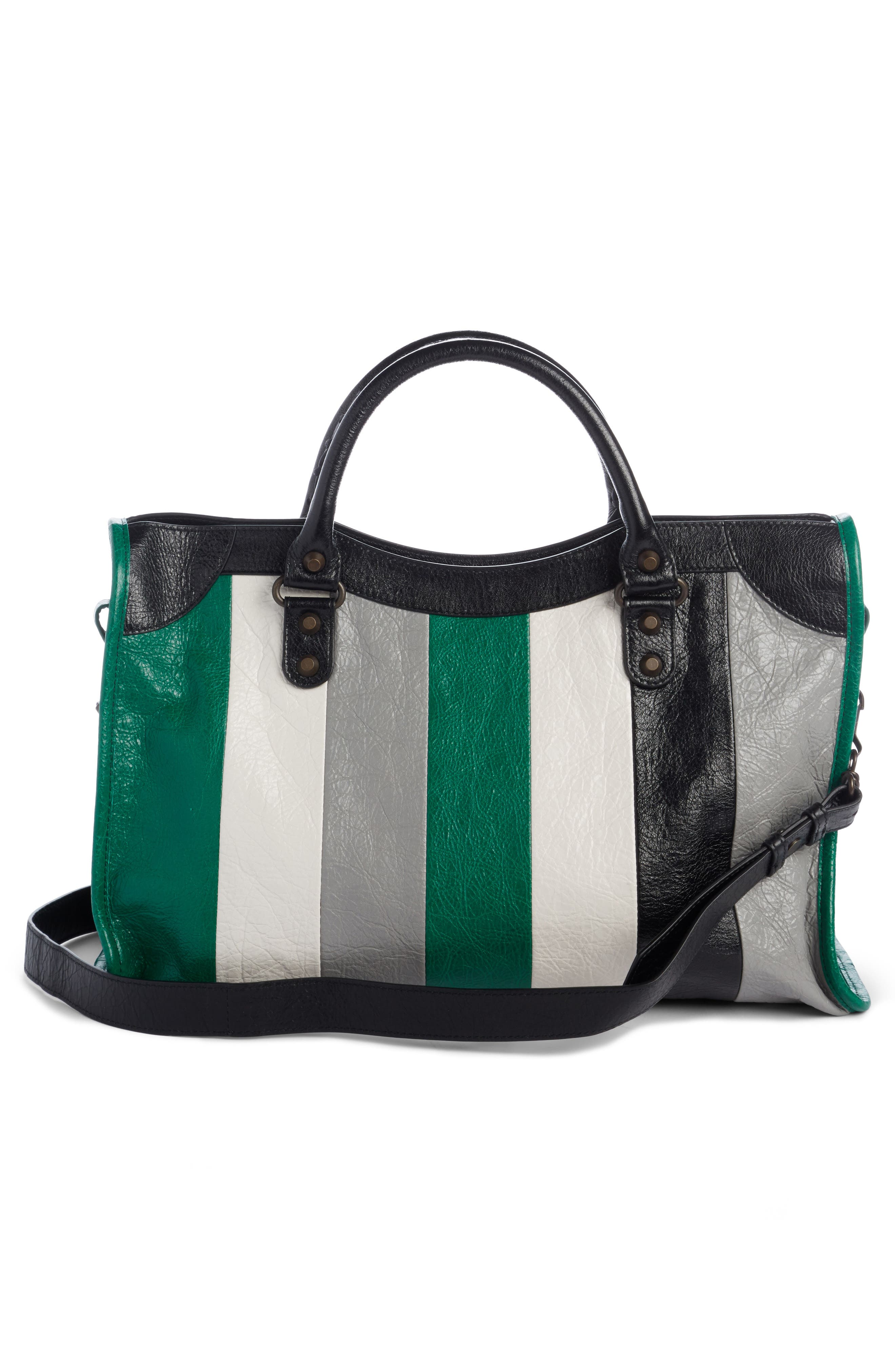 Classic City Stripe Leather Tote,                             Alternate thumbnail 2, color,                             306