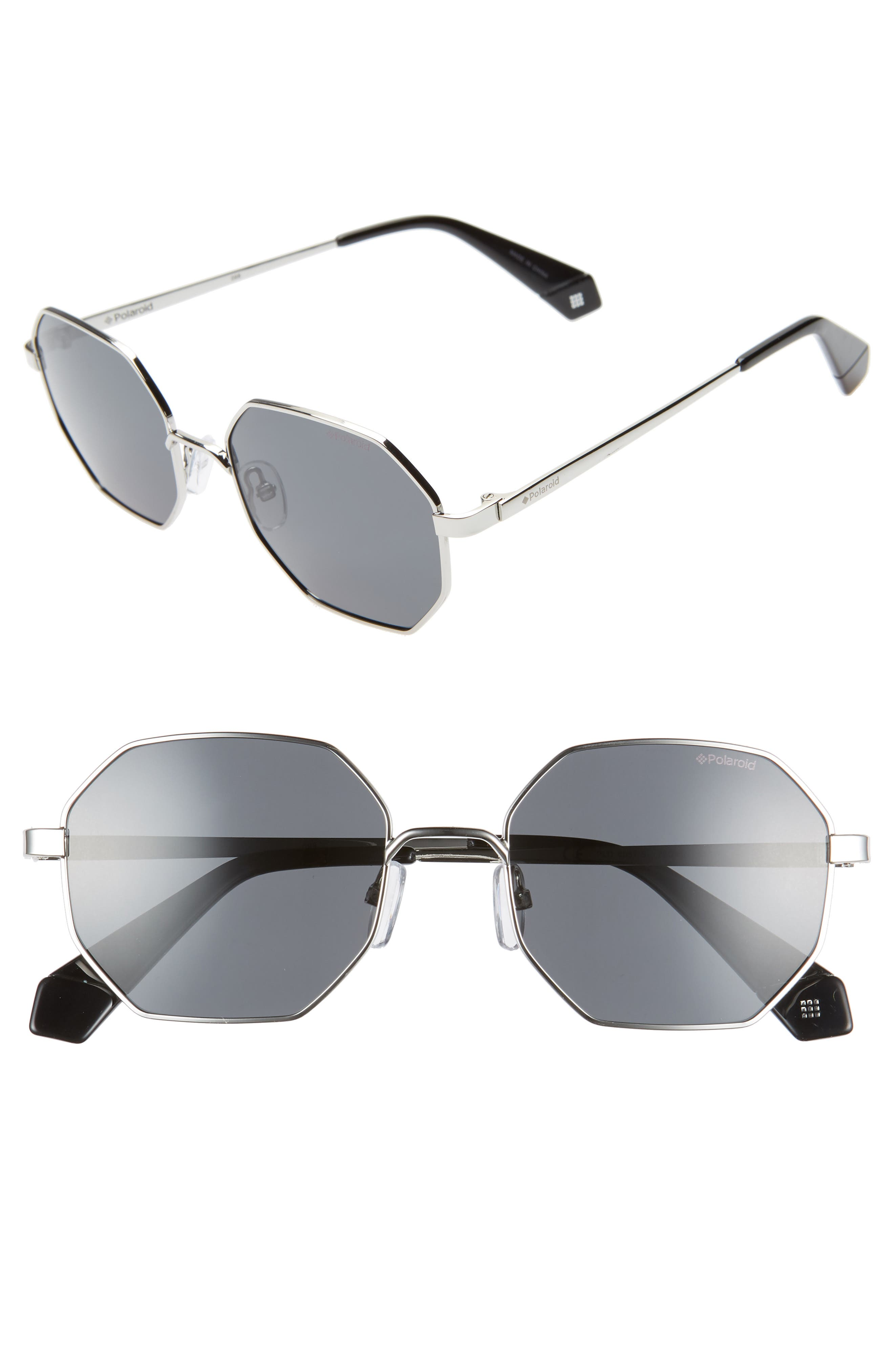 Polaroid 5m Geometric Polarized Sunglasses - Silver/ Black