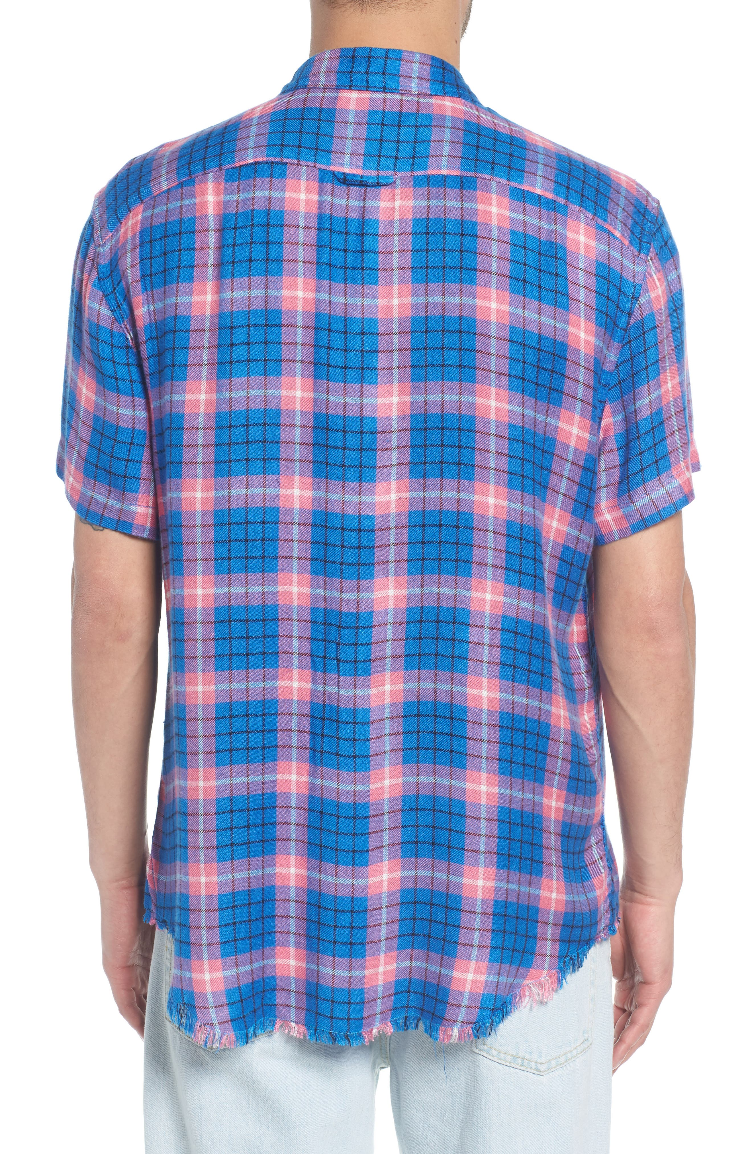 Flannel Woven Shirt,                             Alternate thumbnail 2, color,                             BLUE CAMP PINK BECK PLAID
