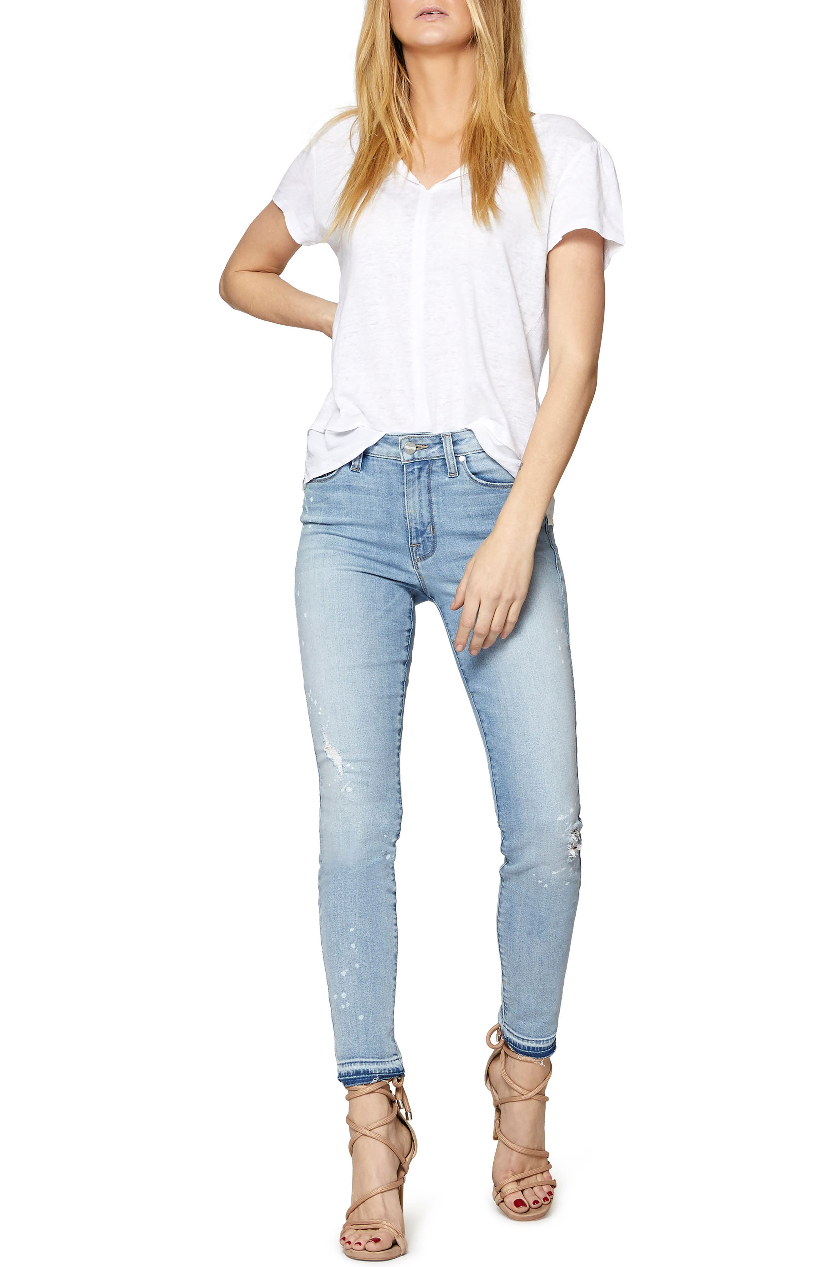 Saige Release Hem Jeans,                             Alternate thumbnail 3, color,
