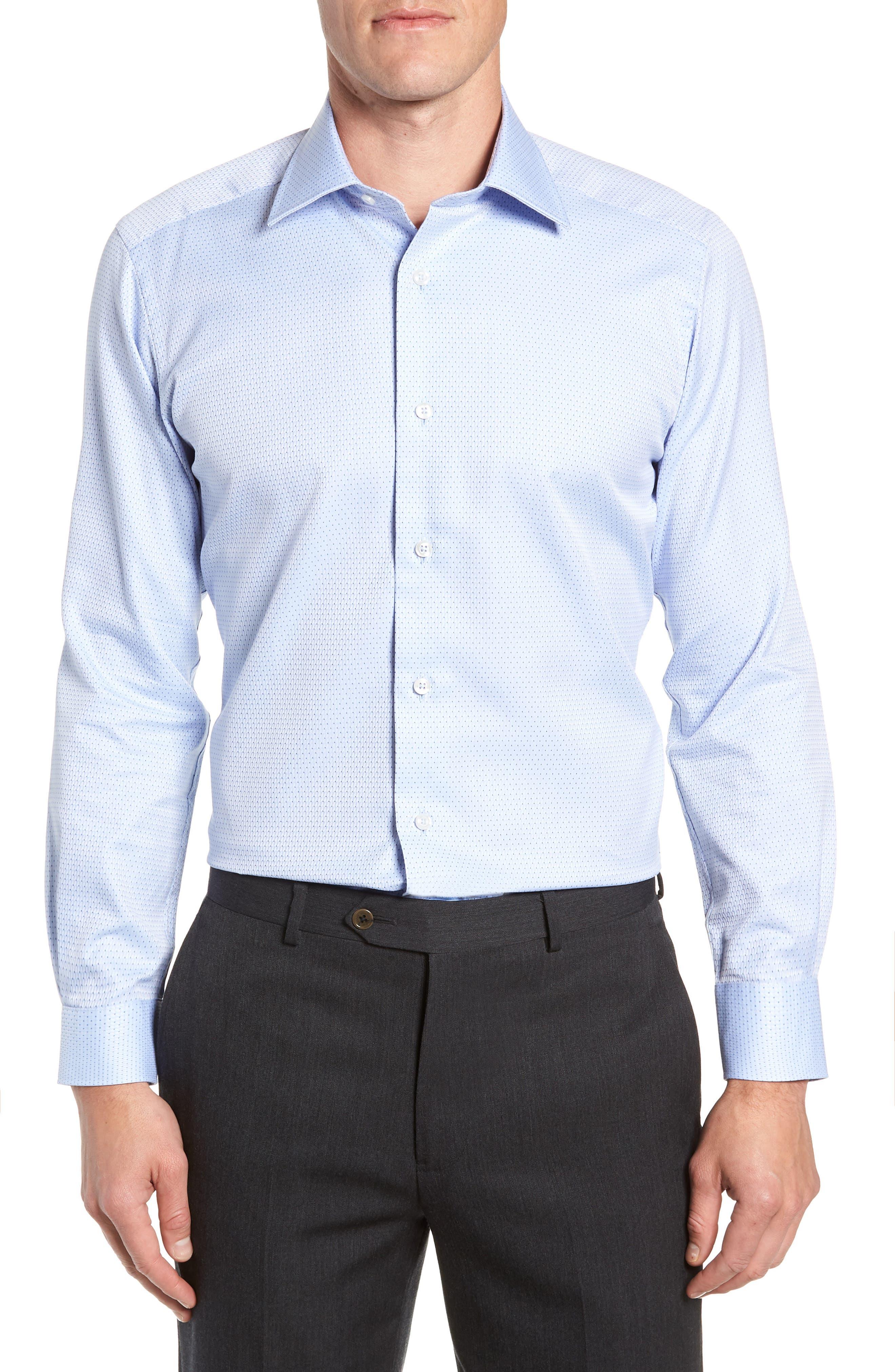 Trim Fit Check Dress Shirt,                             Main thumbnail 1, color,                             SKY/ NAVY
