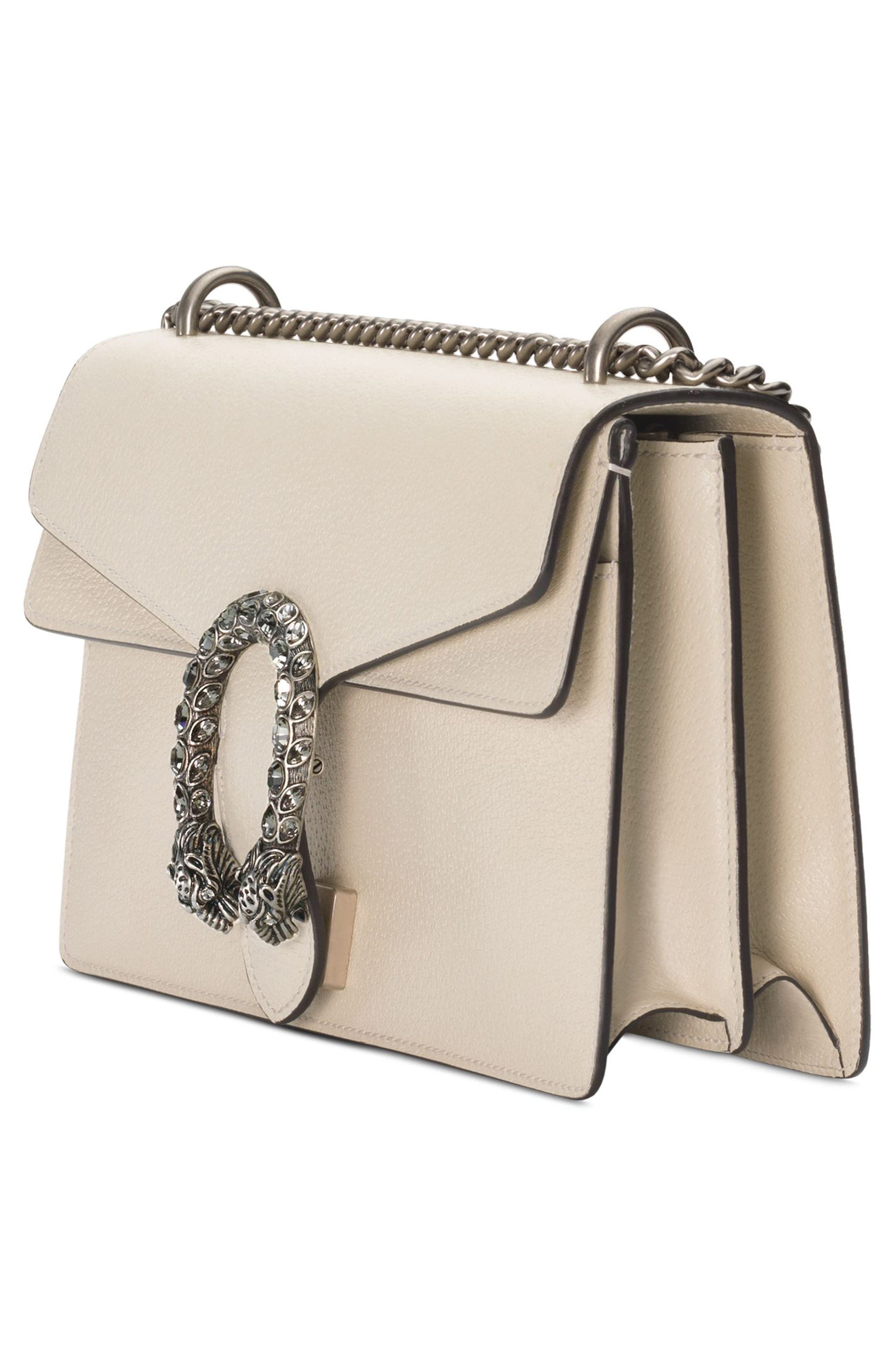 Small Dionysus Leather Shoulder Bag,                             Alternate thumbnail 4, color,                             IVORY/ BLACK DIAMOND