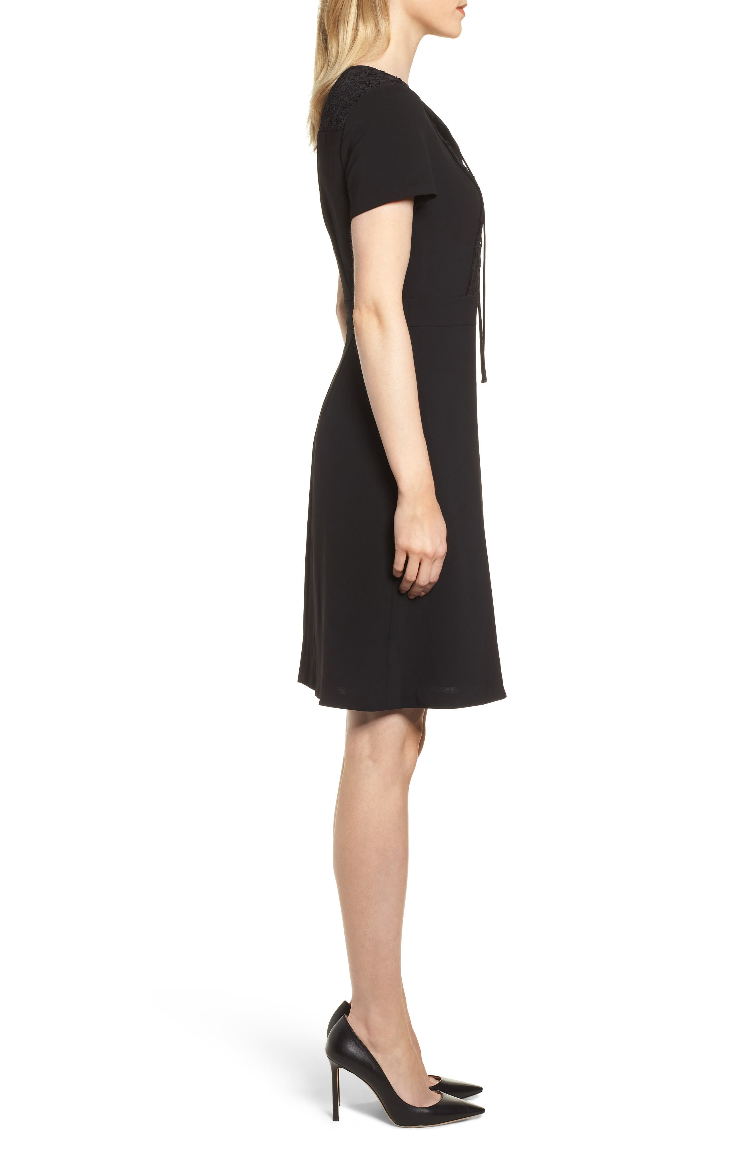 Lace Bib Sheath Dress,                             Alternate thumbnail 3, color,                             BLACK