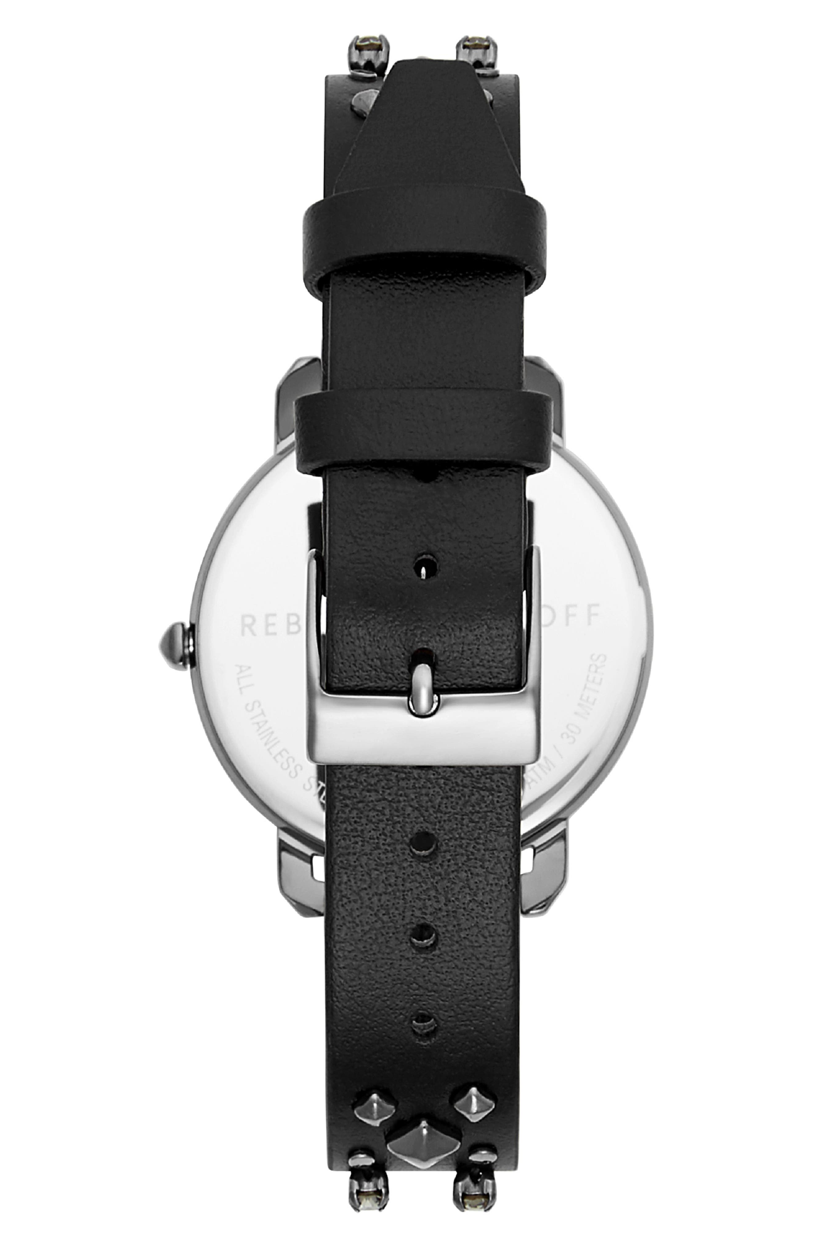REBECCA MINKOFF,                             Billie Studded Leather Strap Watch, 34mm,                             Alternate thumbnail 2, color,                             001