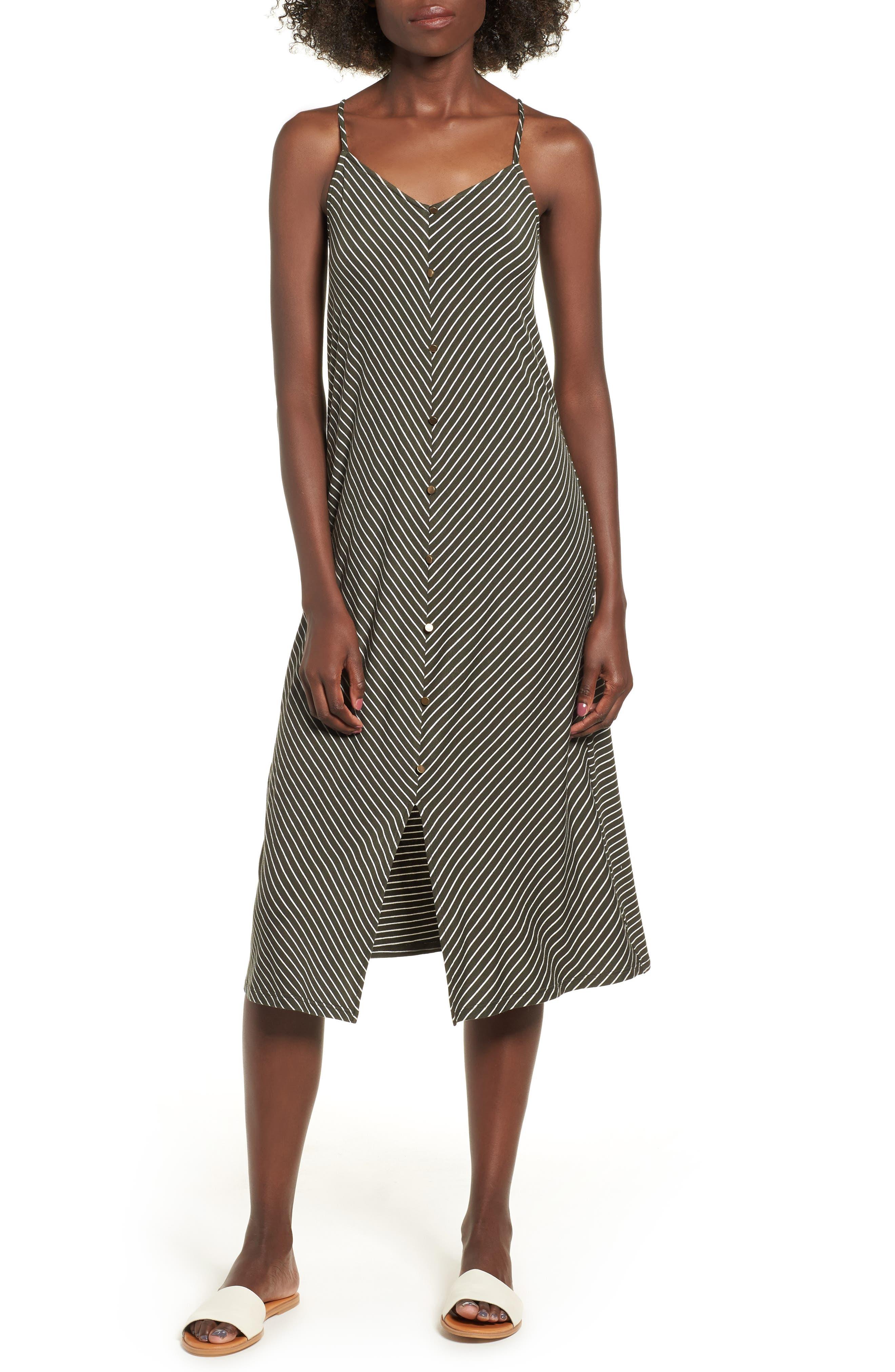 Chevron Stripe Midi Dress,                         Main,                         color, OLIVE/IVORY