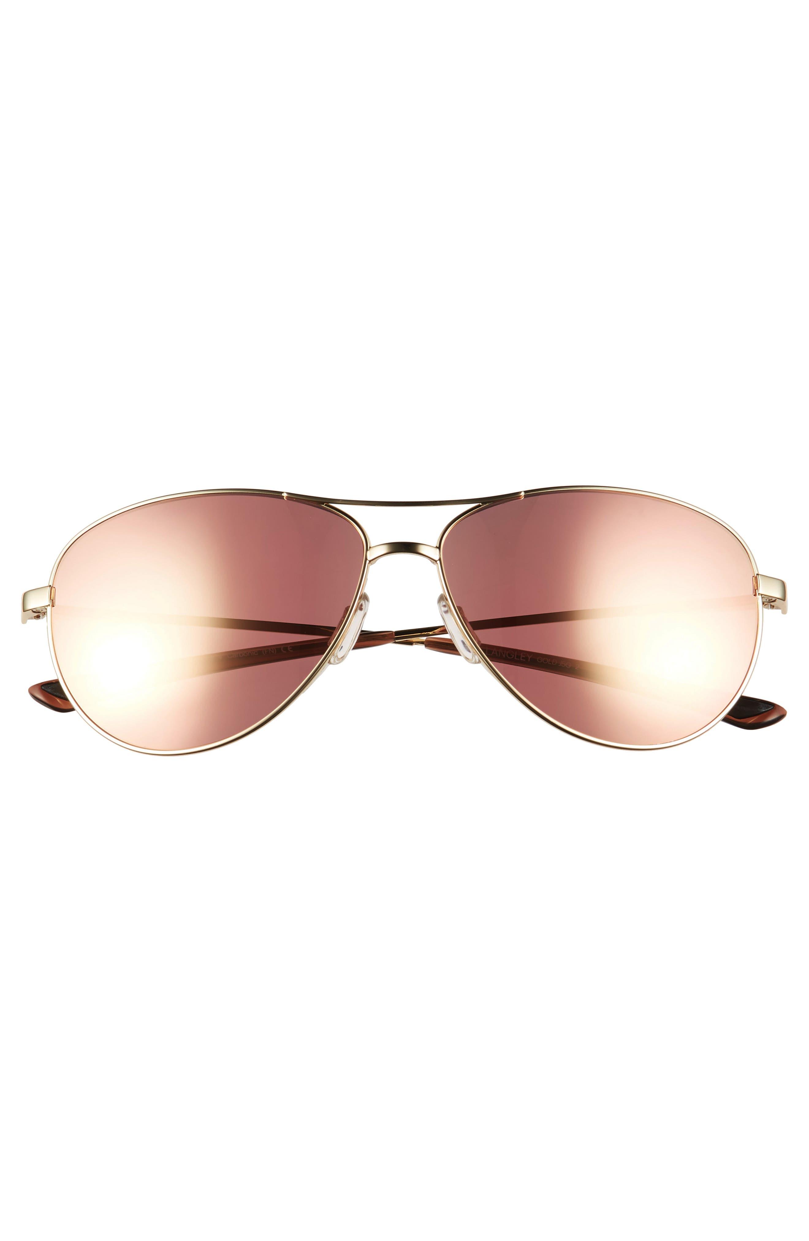 SMITH,                             'Langley' 60mm Aviator Sunglasses,                             Alternate thumbnail 3, color,                             GOLD