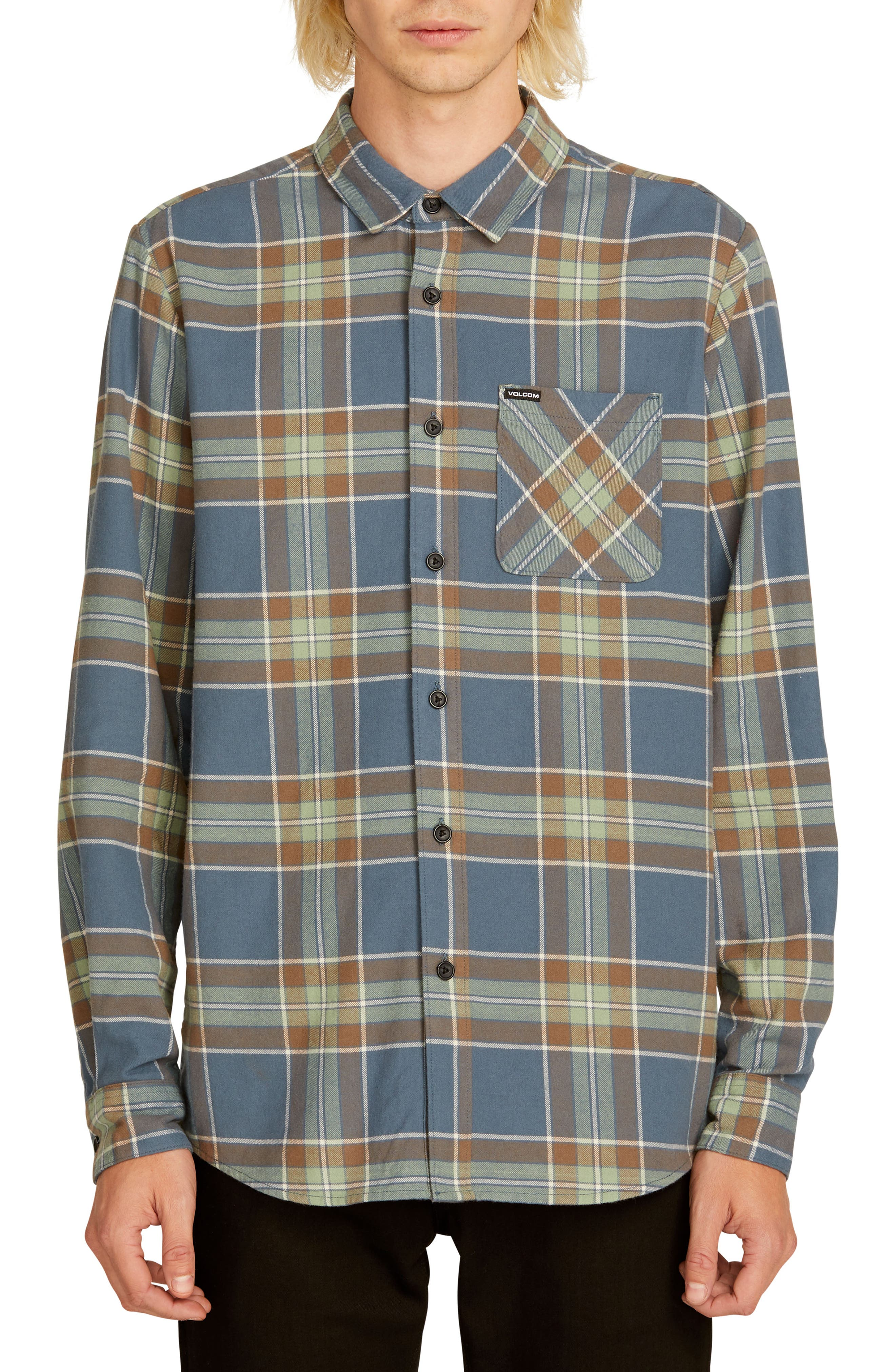 Volcom Caden Plaid Flannel Shirt, Blue