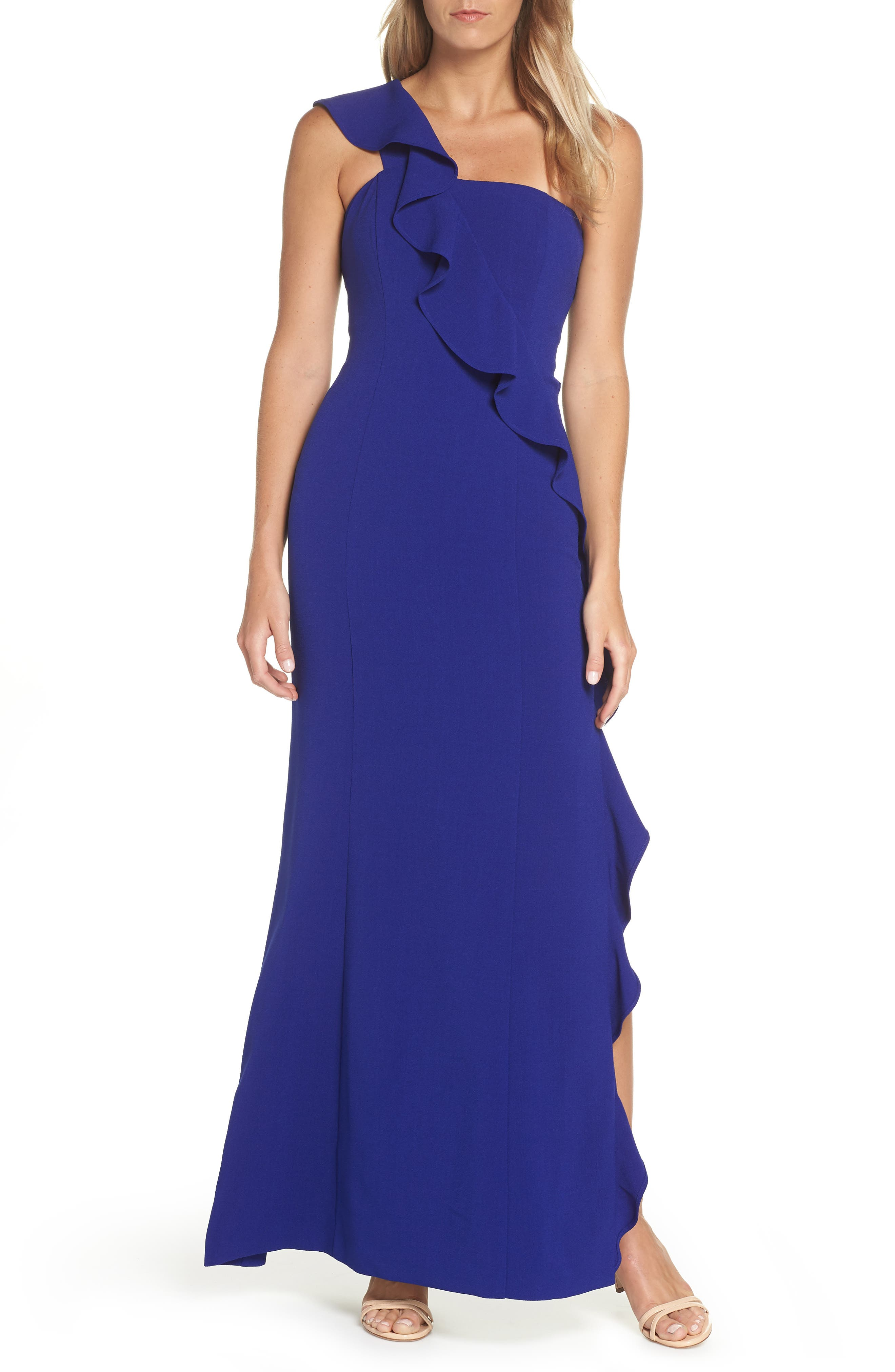 Petite Vince Camuto One-Shoulder Gown, Blue