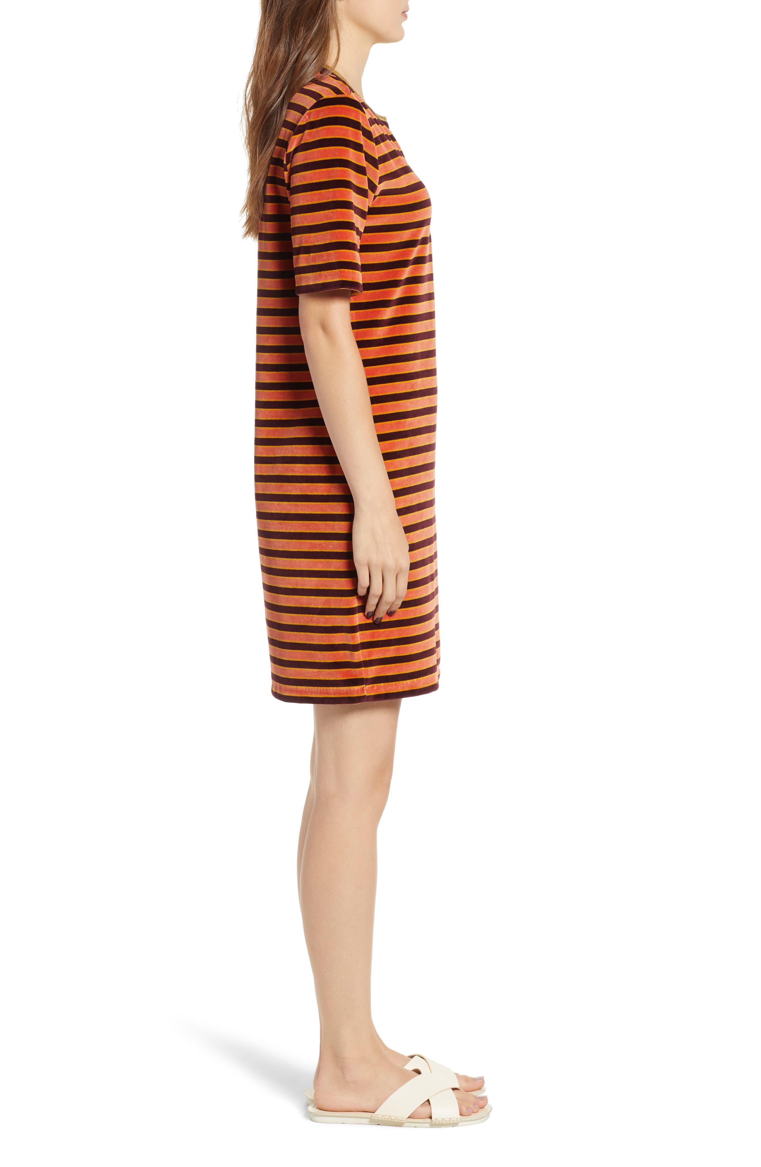 Striped Short Sleeve Velour Dress,                             Alternate thumbnail 3, color,                             ORANGE BURGUNDY STRIPE