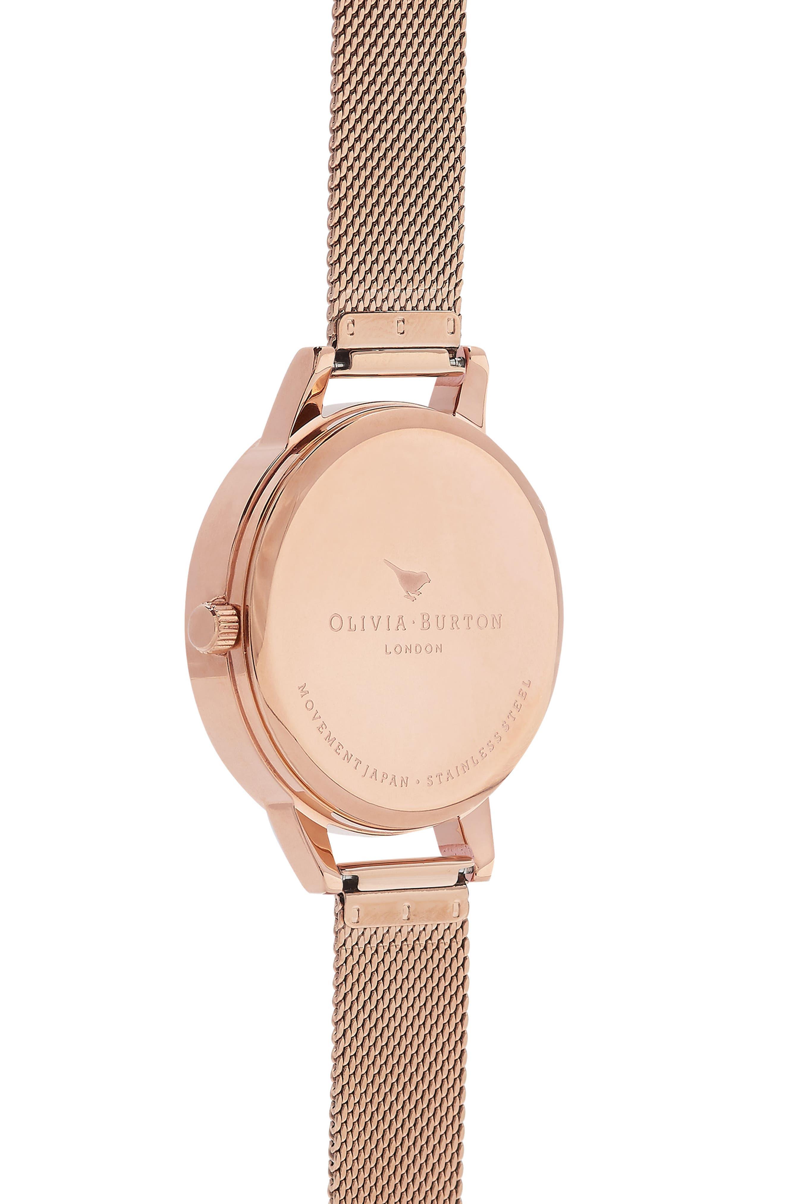 OLIVIA BURTON,                             Enchanted Garden Mesh Strap Watch, 30mm,                             Alternate thumbnail 2, color,                             ROSE GOLD/ FLORAL/ ROSE GOLD