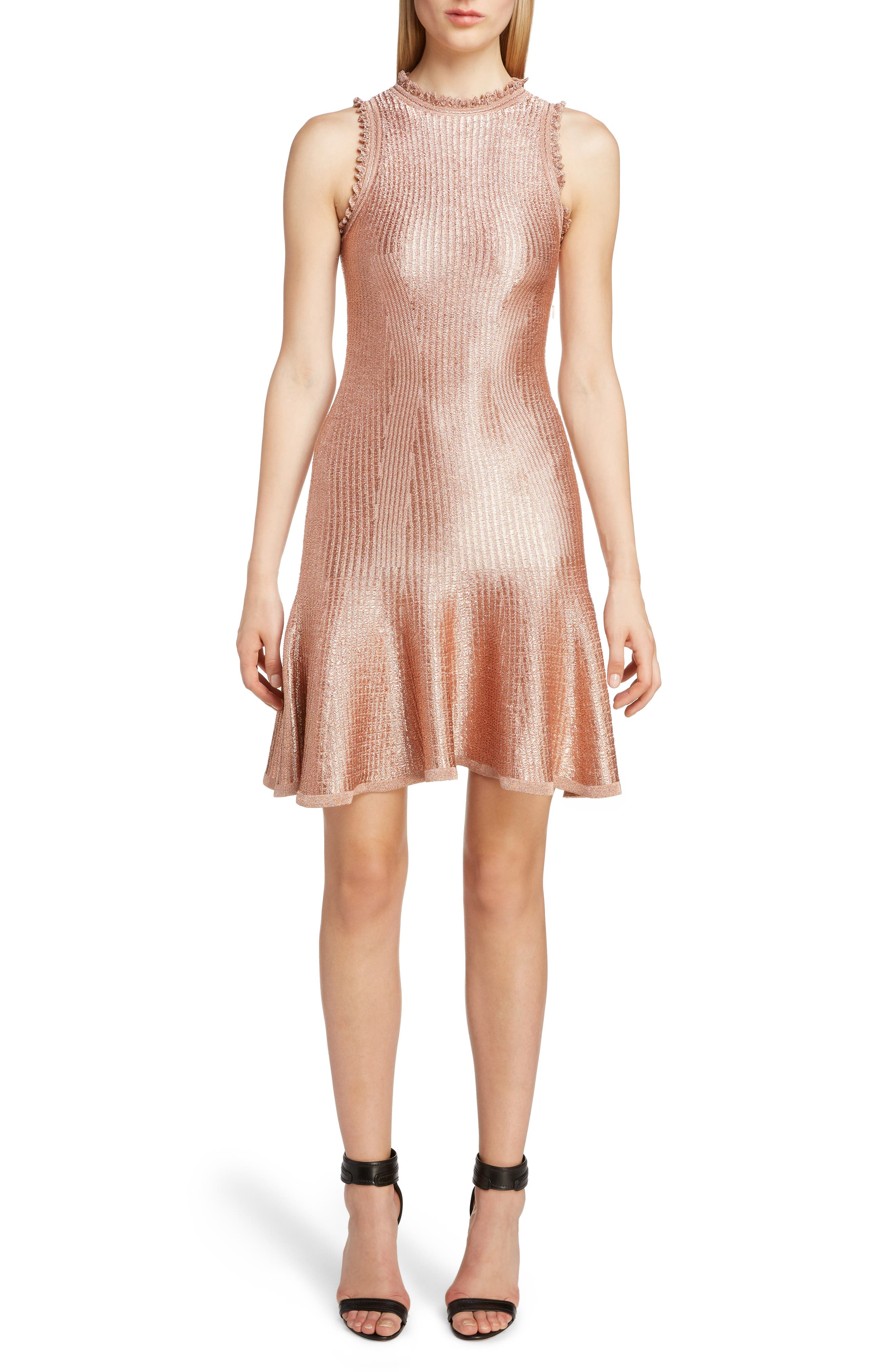 Alexander Mcqueen Ruffle Trim Metallic Ribbed Dress, Pink