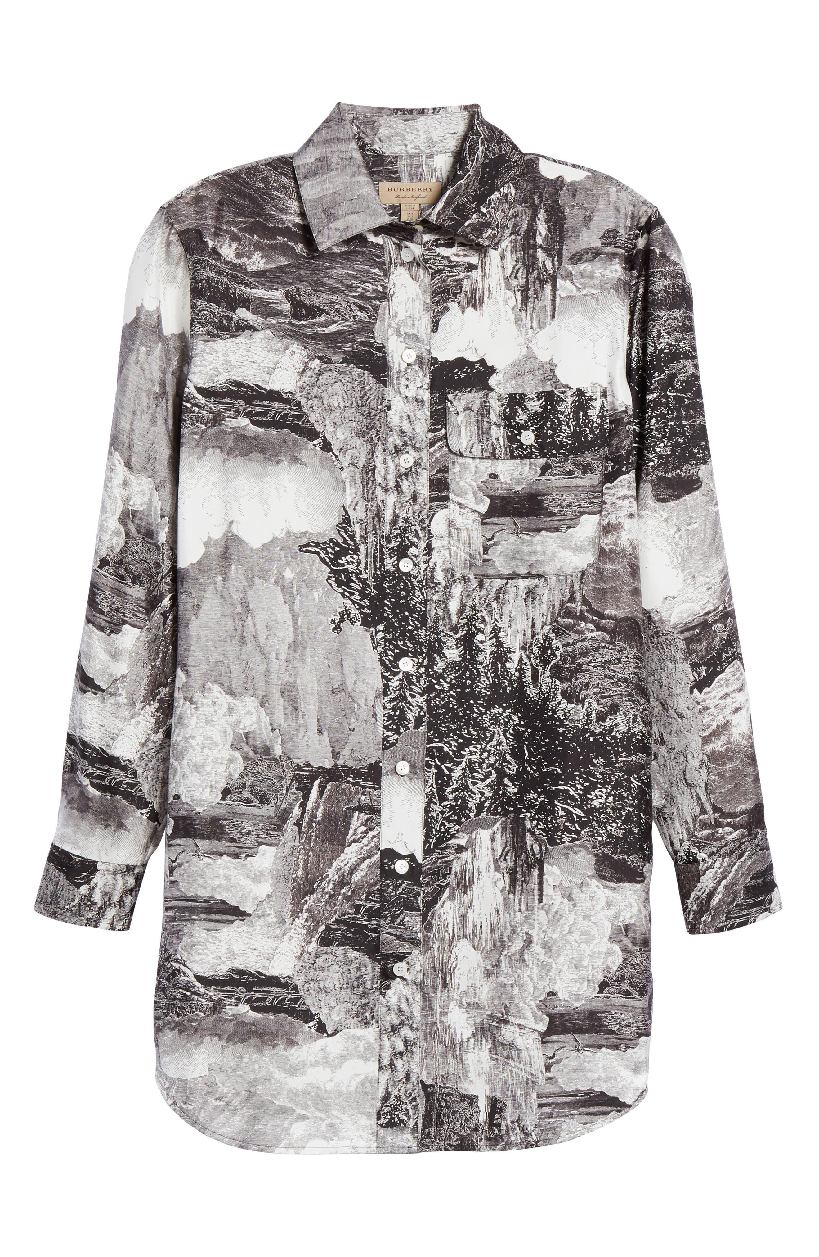 Chava Print Silk Shirt,                             Alternate thumbnail 6, color,                             BLACK