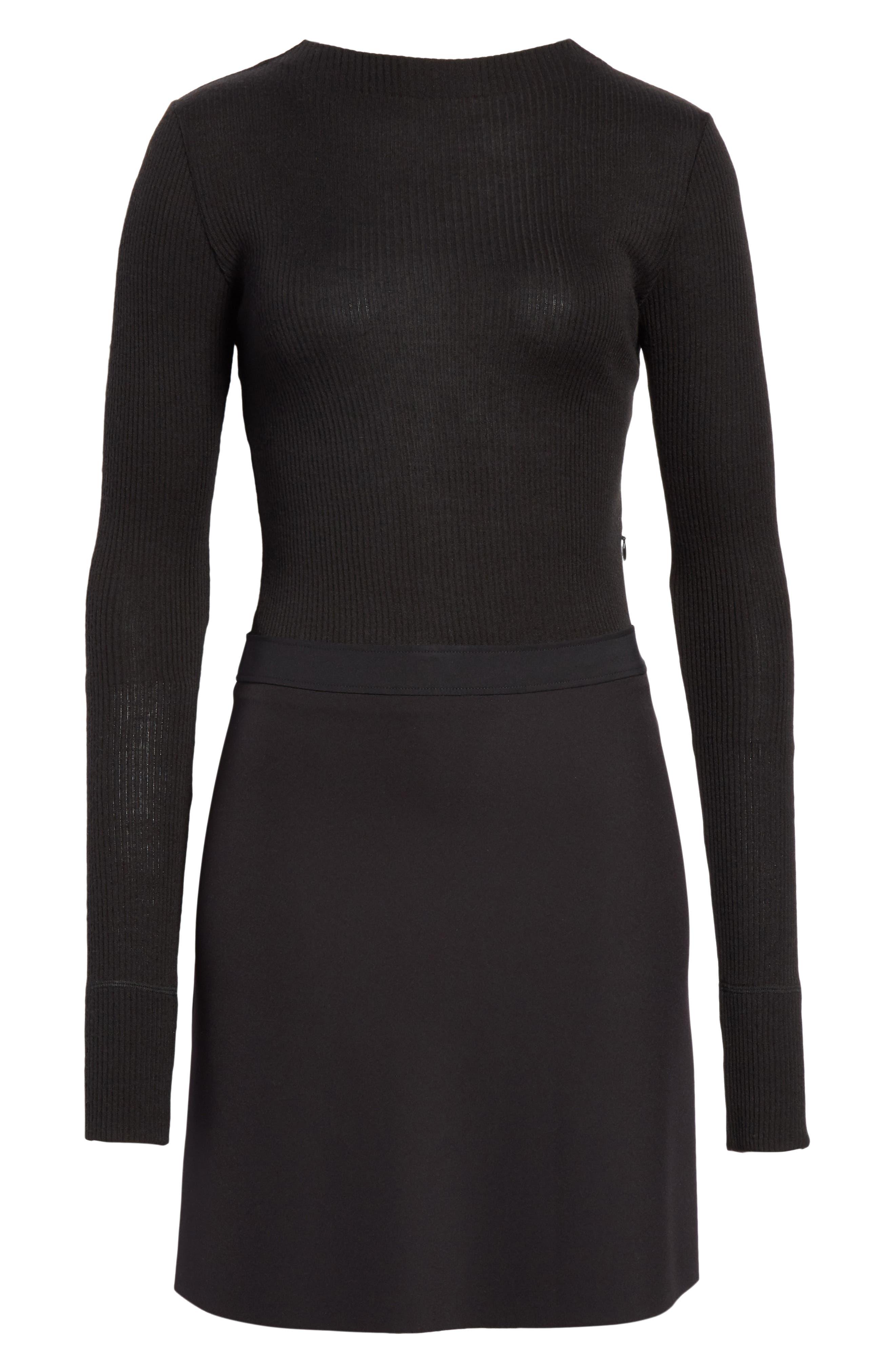 Combo Mock Neck Sweater Dress,                             Alternate thumbnail 6, color,                             001