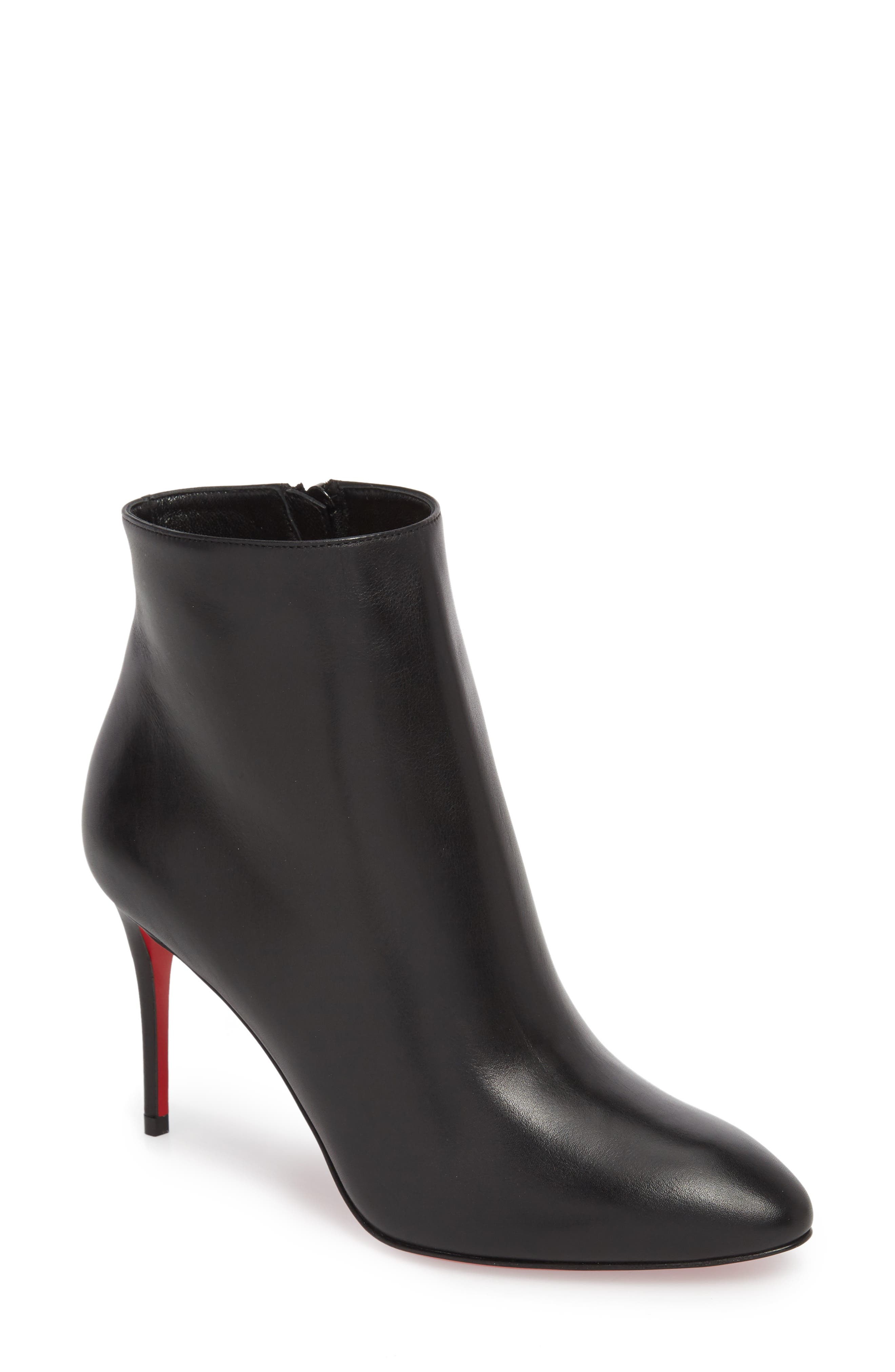 Eloise Pointy Toe Bootie,                             Main thumbnail 1, color,                             BLACK LEATHER