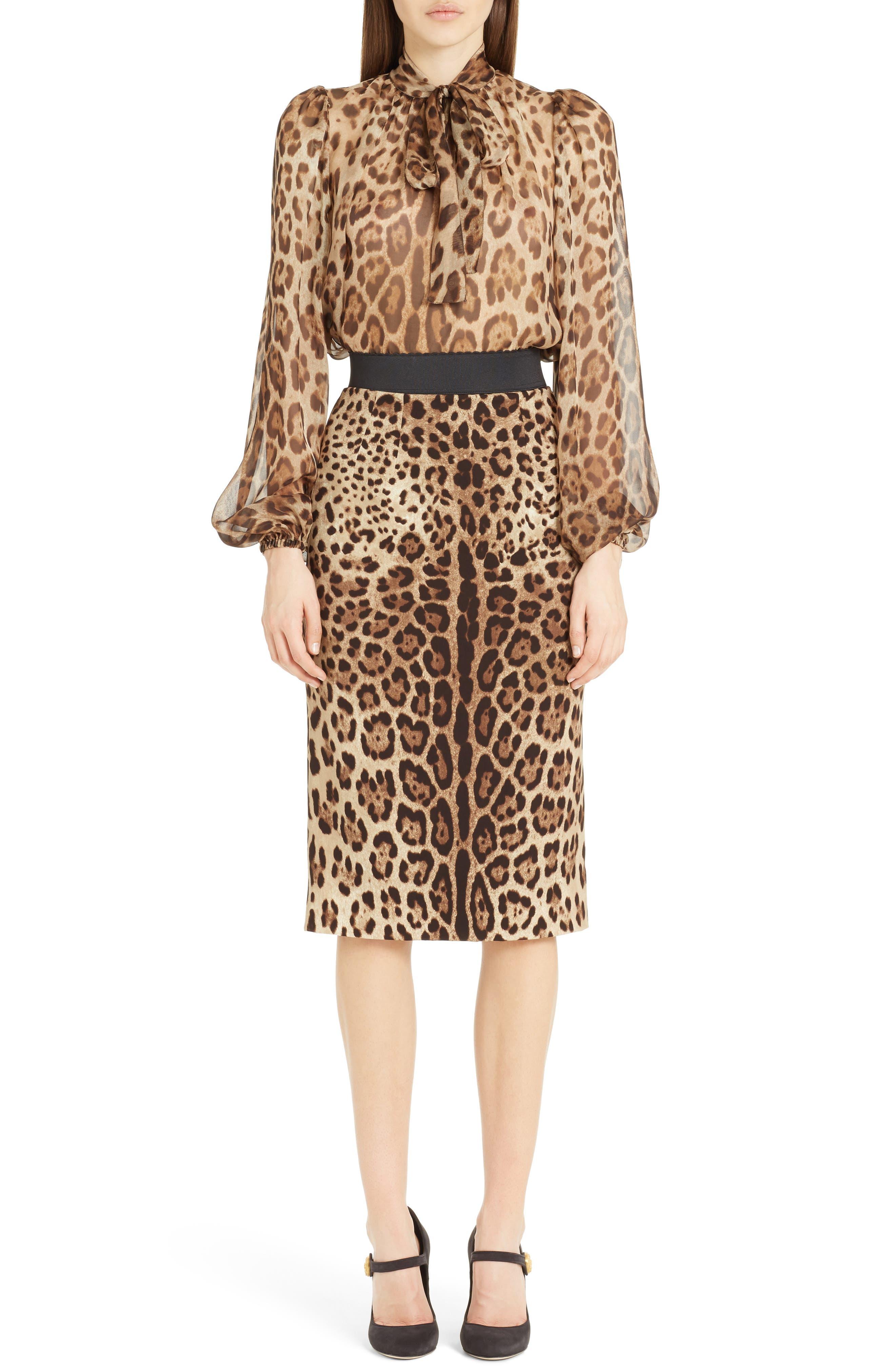Leopard Print Stretch Silk Pencil Skirt,                             Alternate thumbnail 6, color,                             200