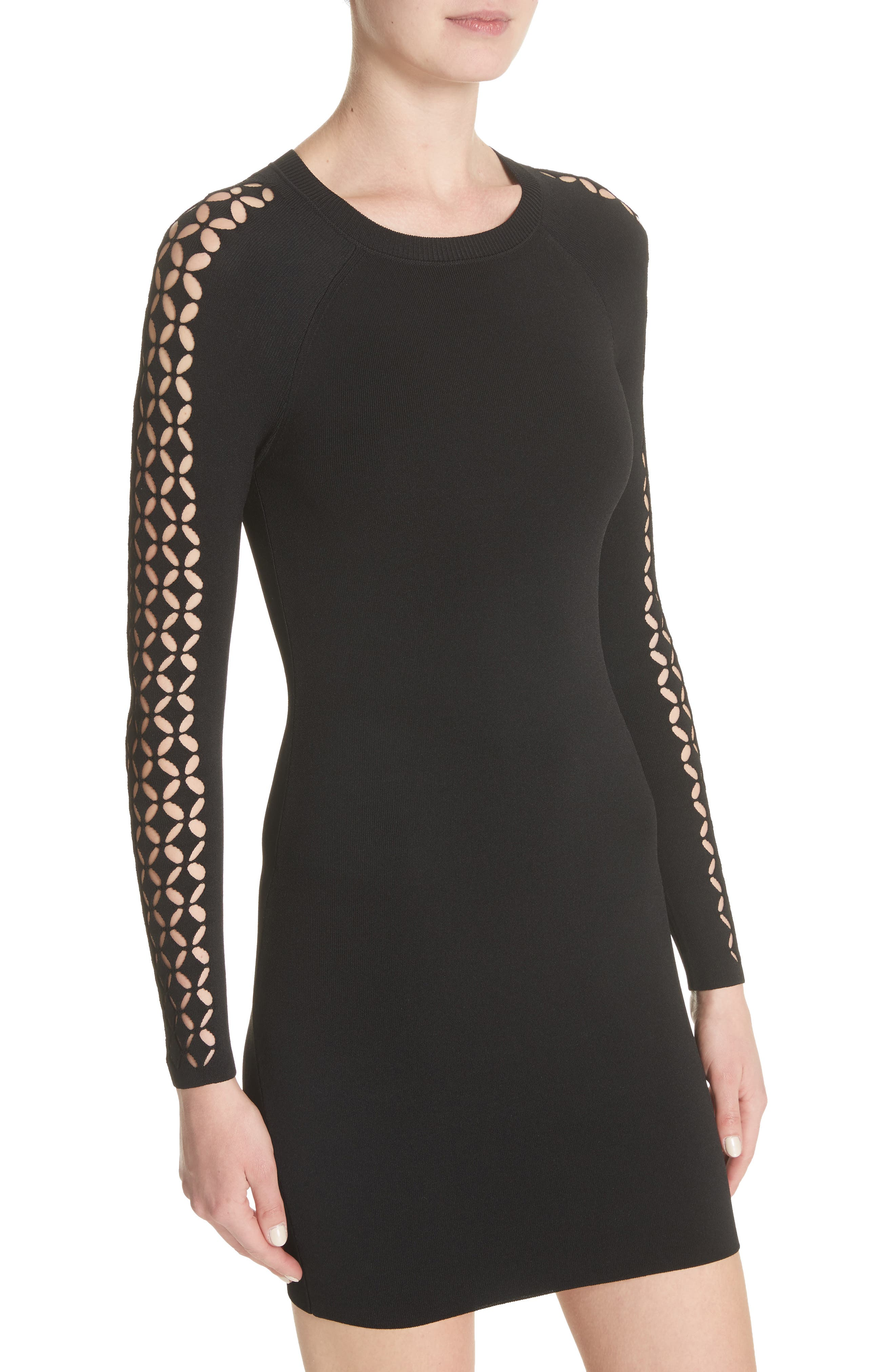 Open Knit Sleeve Dress,                             Alternate thumbnail 4, color,                             001