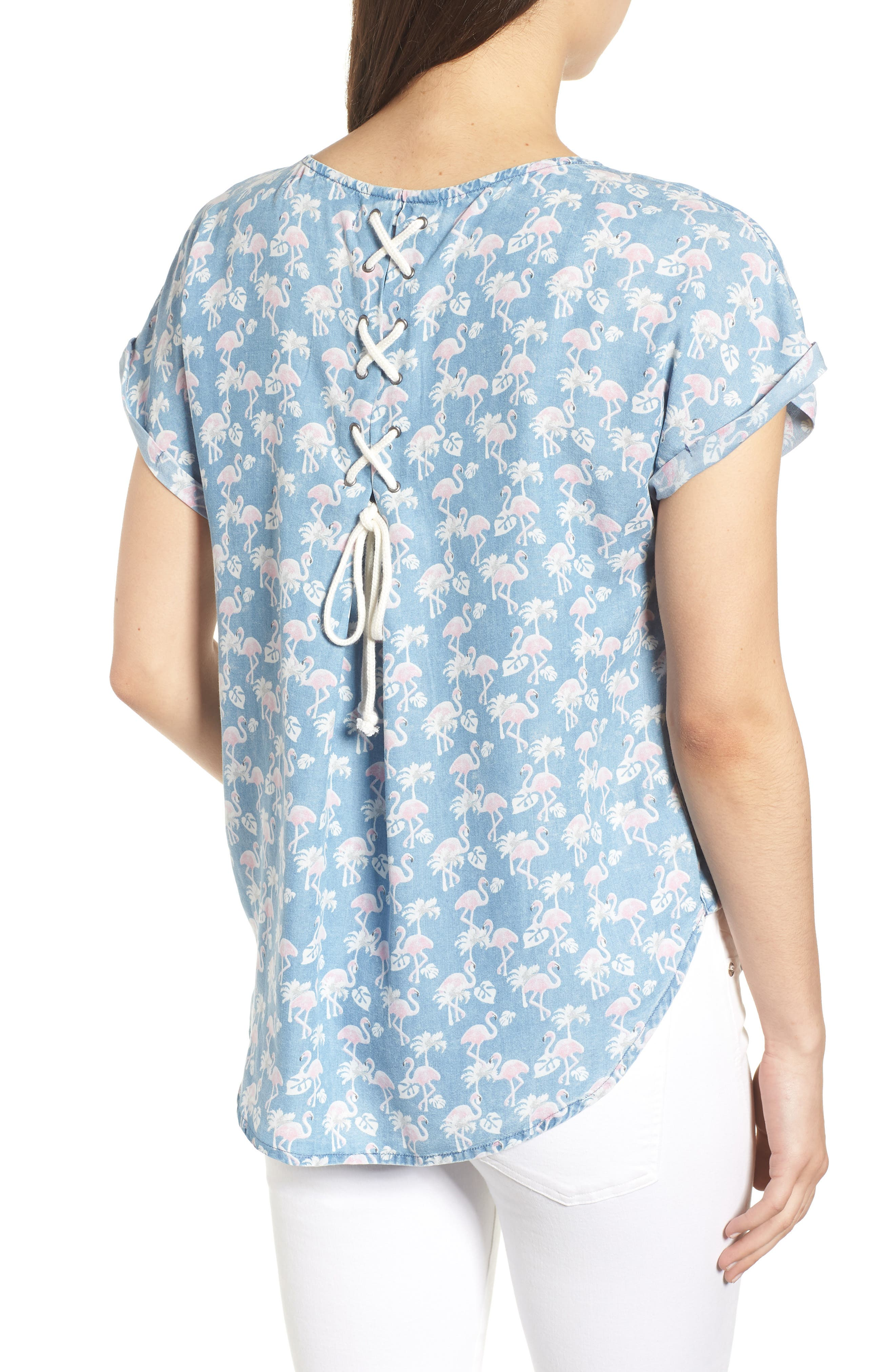 Flamingo Lace-Up Back Popover Top,                             Alternate thumbnail 2, color,                             422