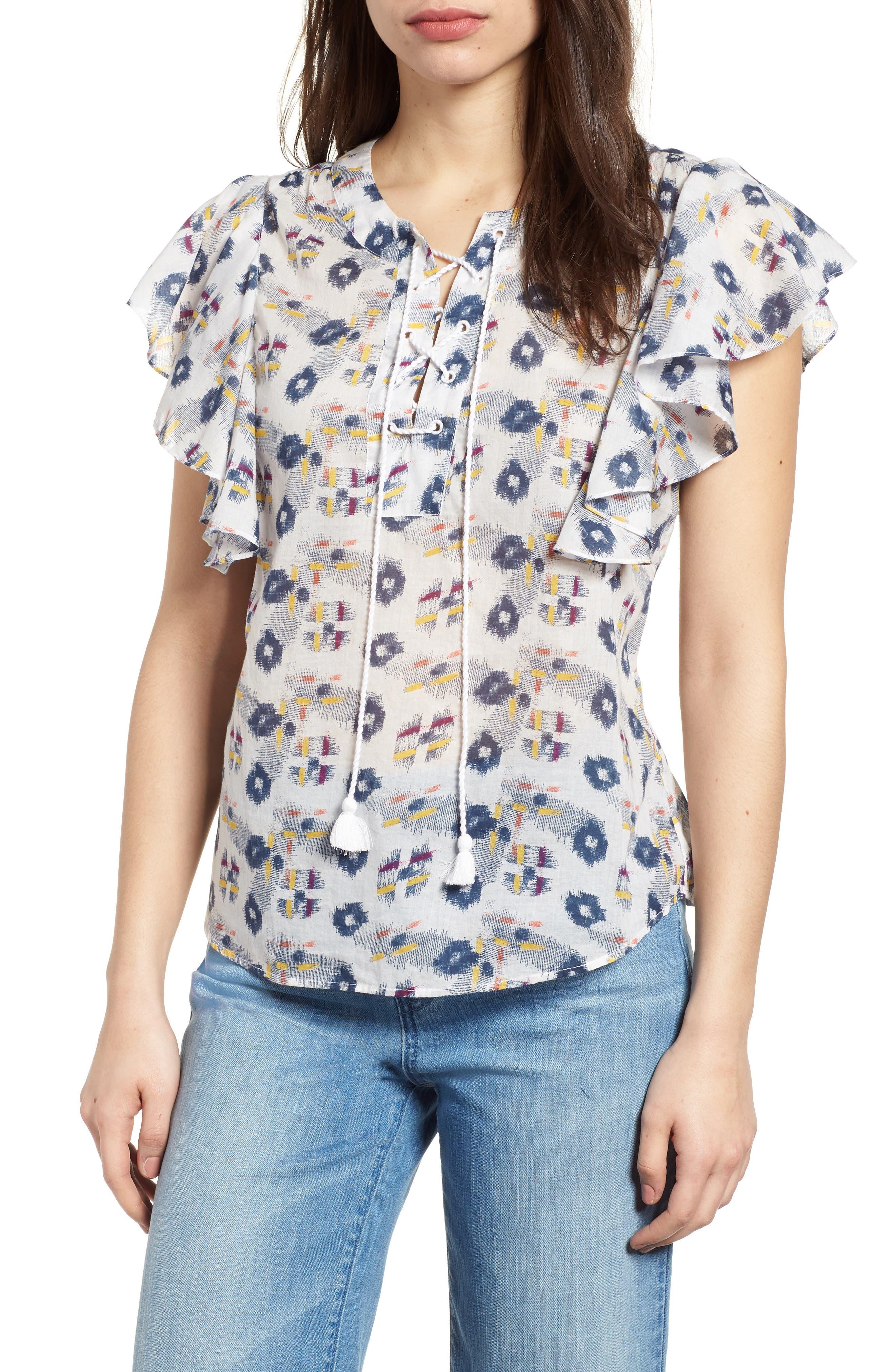 Flounce Sleeve Lace-Up Blouse,                         Main,                         color,