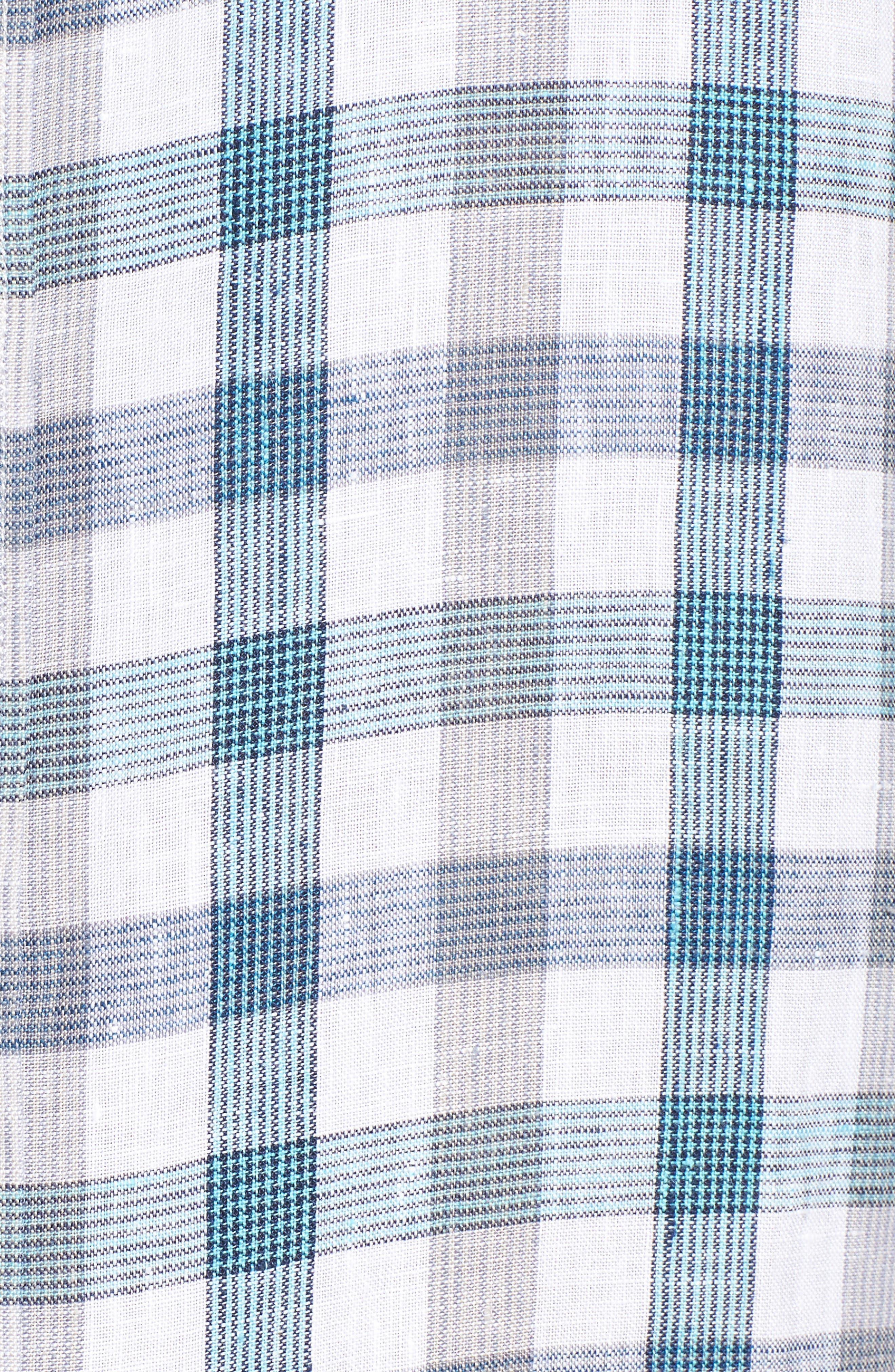 Thira Check Linen Sport Shirt,                             Alternate thumbnail 5, color,