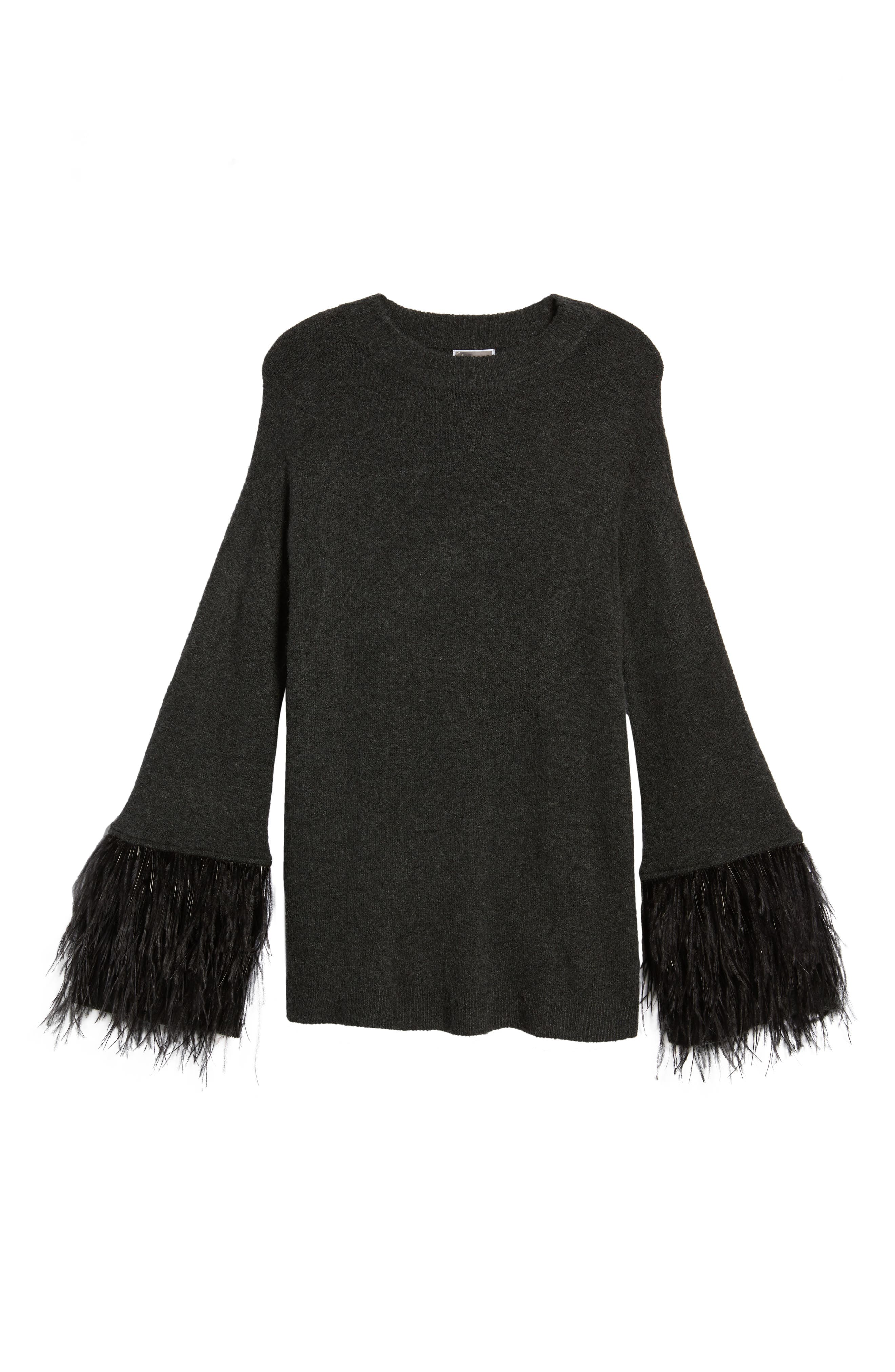 Feather Trim Sweater,                             Alternate thumbnail 6, color,                             021