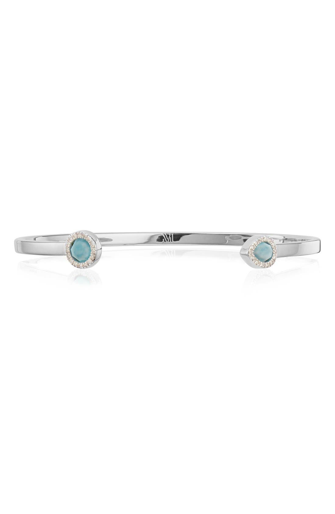 Naida Thin Diamond Cuff,                             Main thumbnail 1, color,                             SILVER/ DIAMOND / LARIMAR