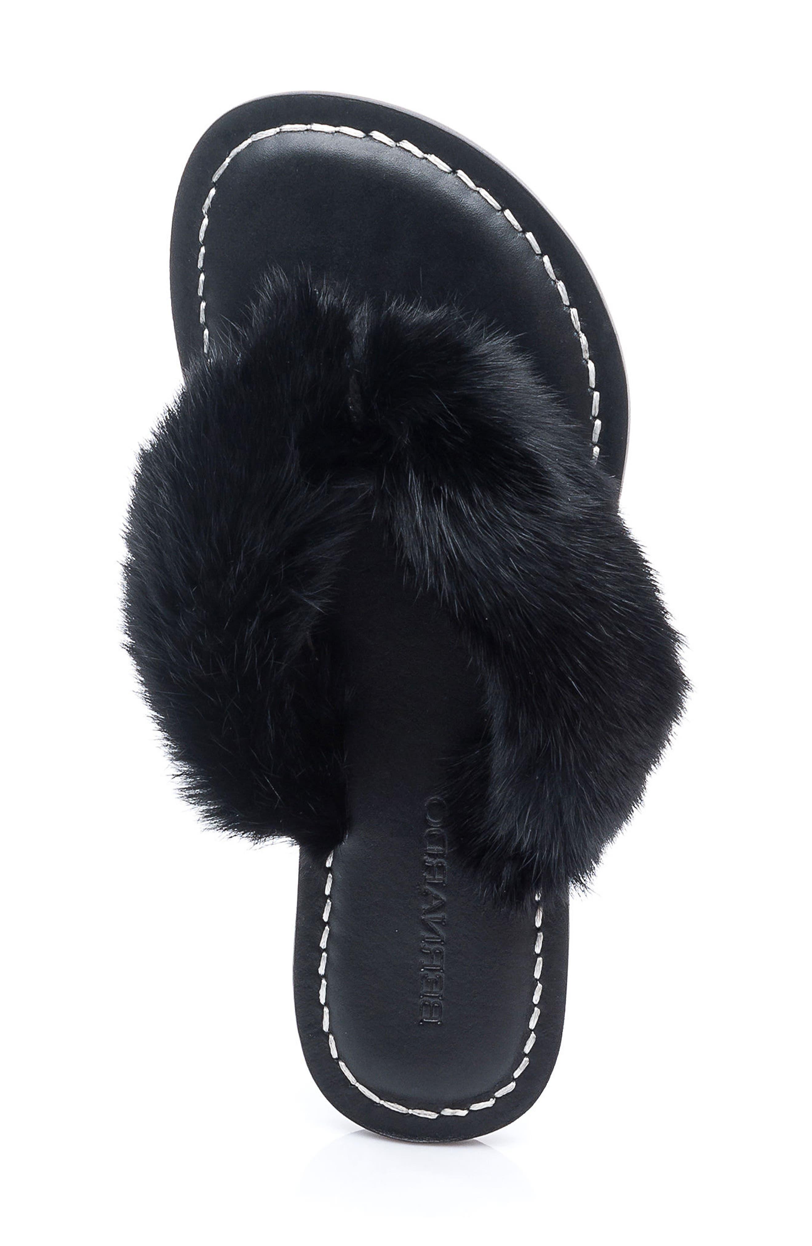 Genuine Rabbit Fur Flip Flop,                             Alternate thumbnail 3, color,                             001