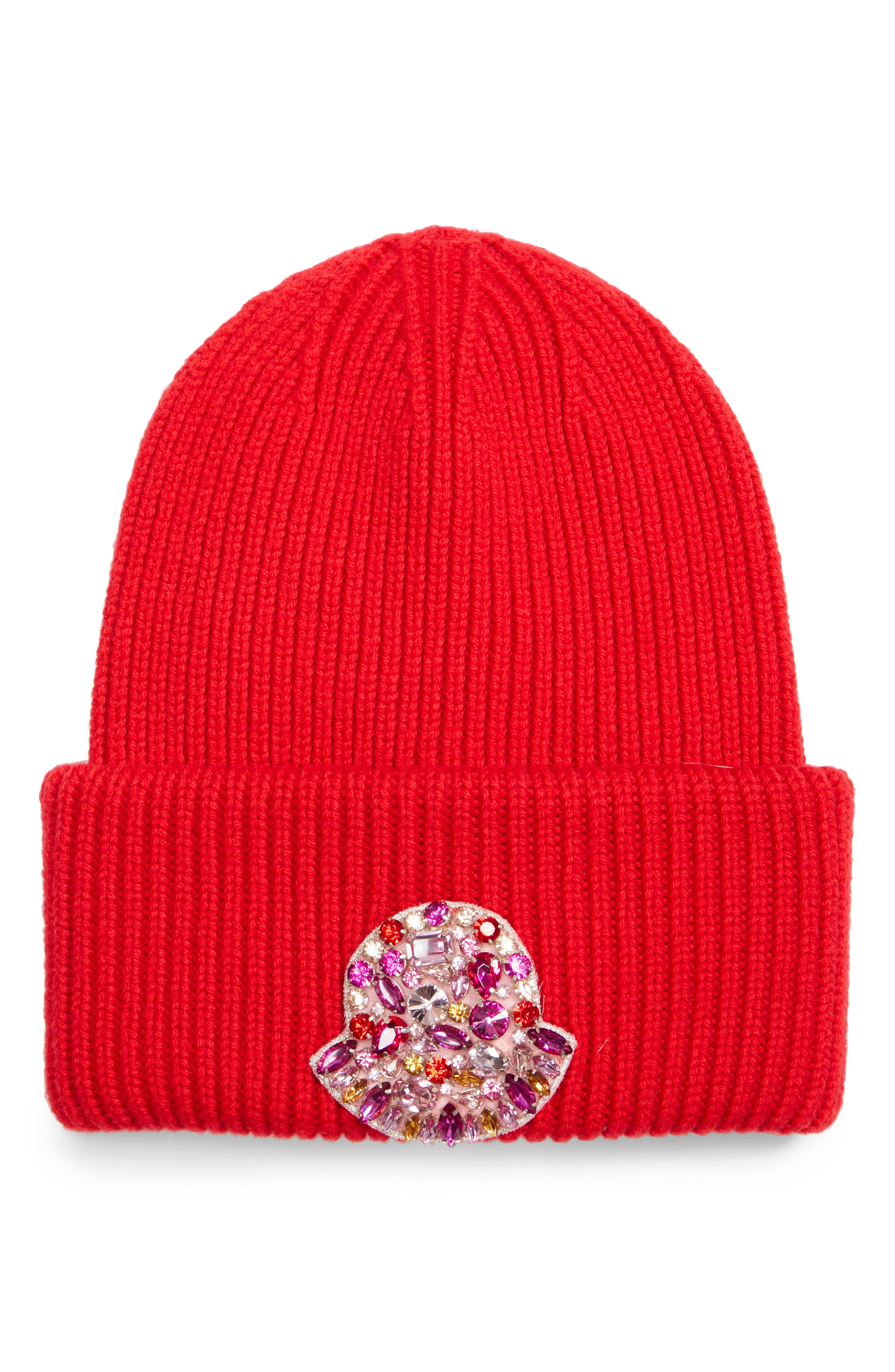 MONCLER,                             Virgin Wool Beanie,                             Main thumbnail 1, color,                             RED