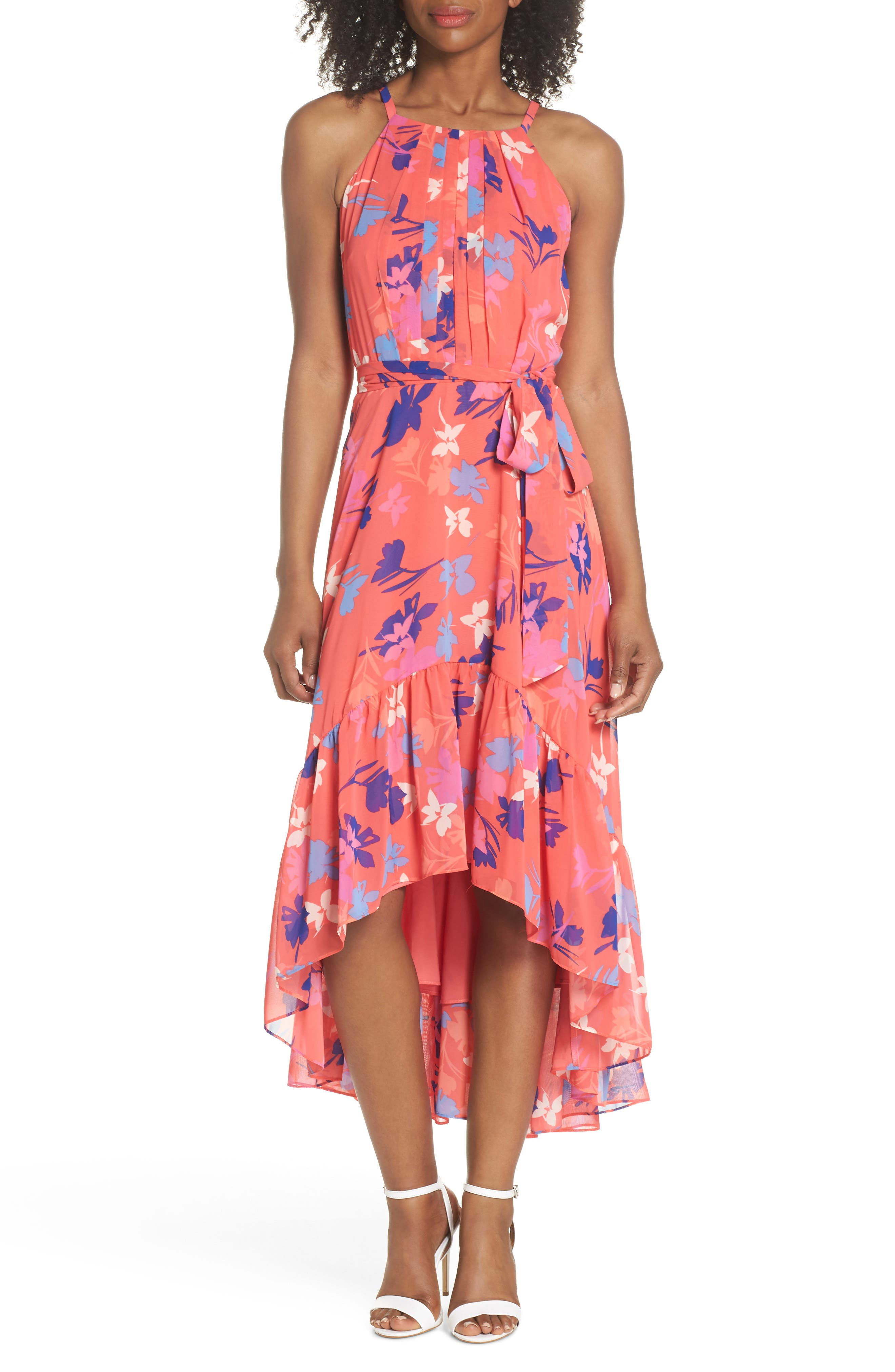Floral High/Low Chiffon Halter Dress,                             Main thumbnail 1, color,                             CORAL