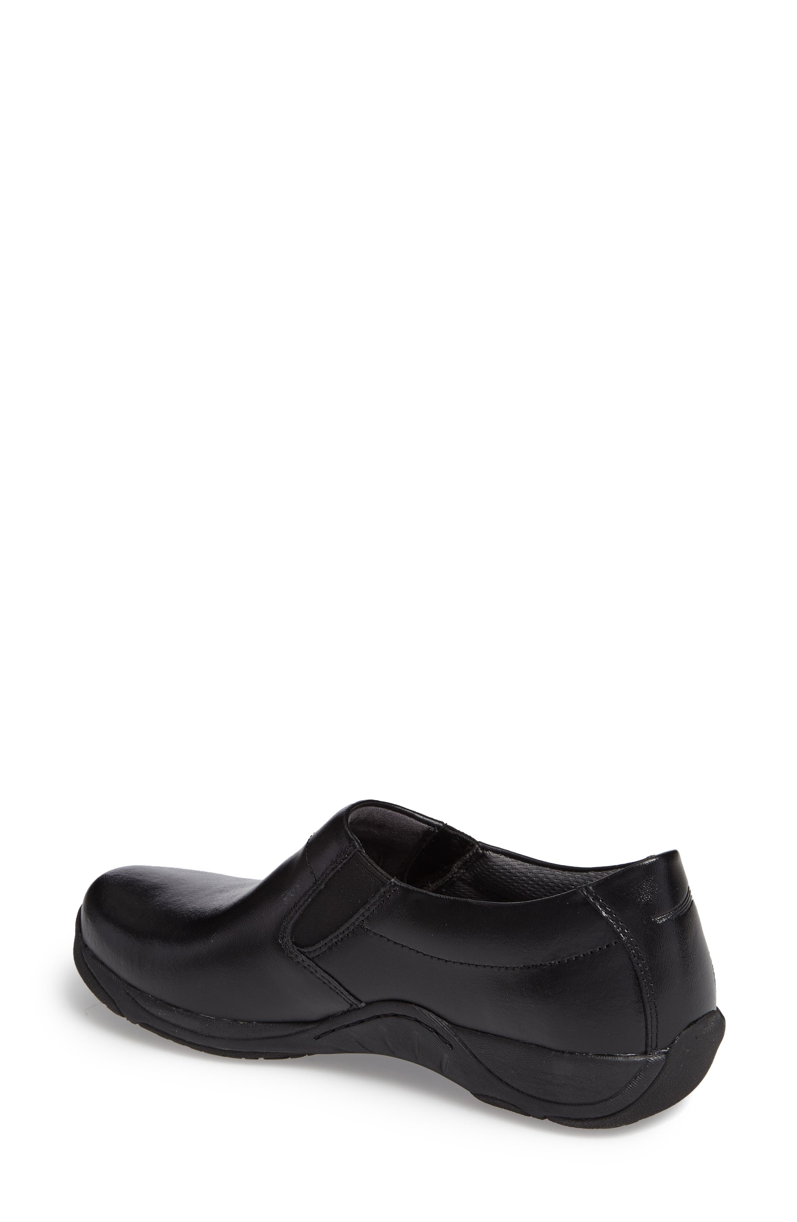 Ellie Slip-On Sneaker,                             Alternate thumbnail 2, color,                             BLACK LEATHER
