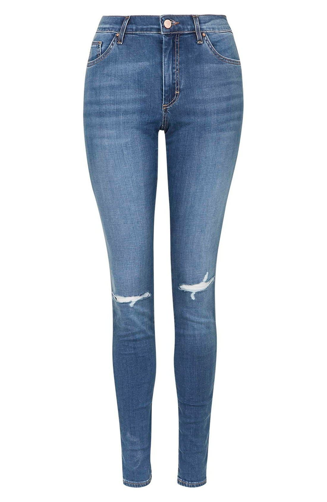 Moto 'Leigh' Ripped Skinny Jeans,                             Alternate thumbnail 2, color,                             400