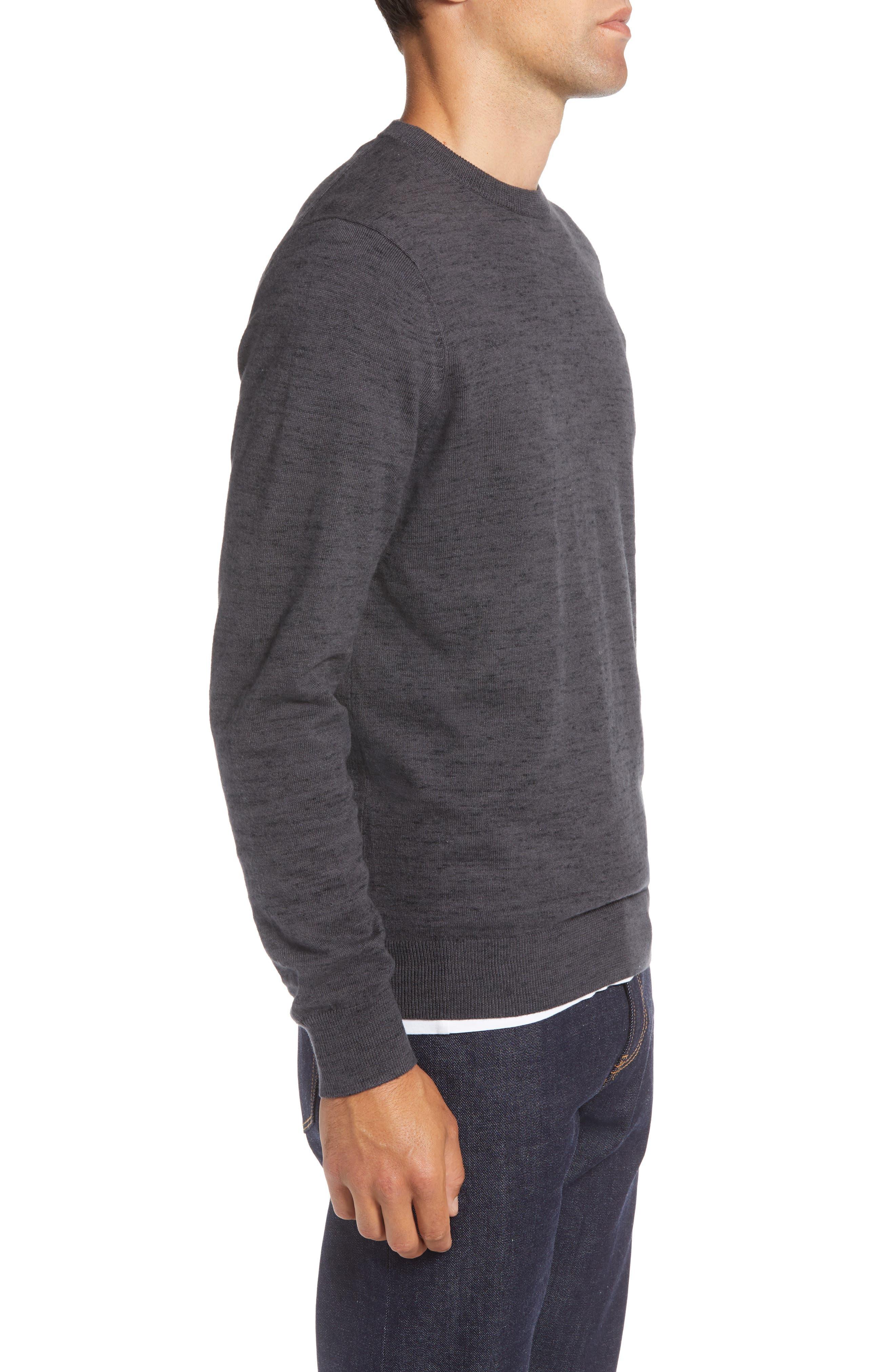 Regular Fit Crewneck Sweater,                             Alternate thumbnail 3, color,                             GREY DARK CHARCOAL HEATHER