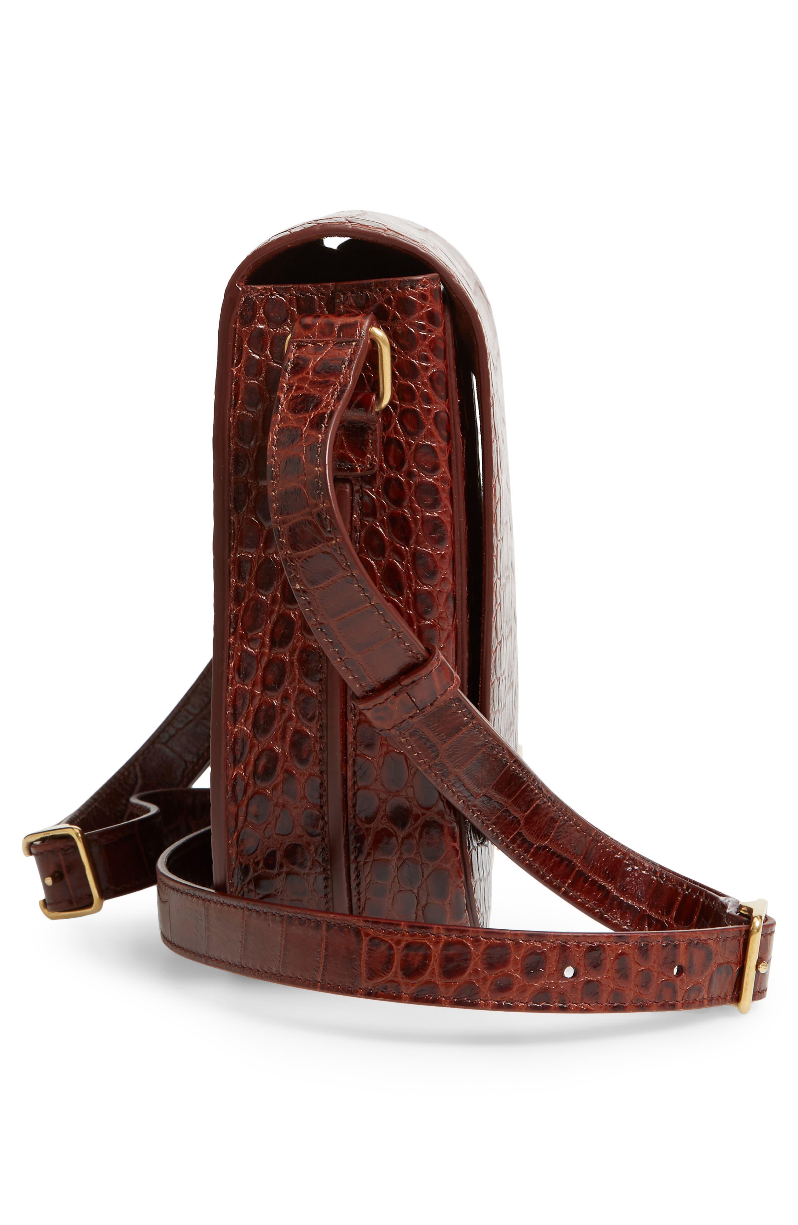 Betty Croc Embossed Leather Shoulder Bag,                             Alternate thumbnail 5, color,                             DARK BLOOD